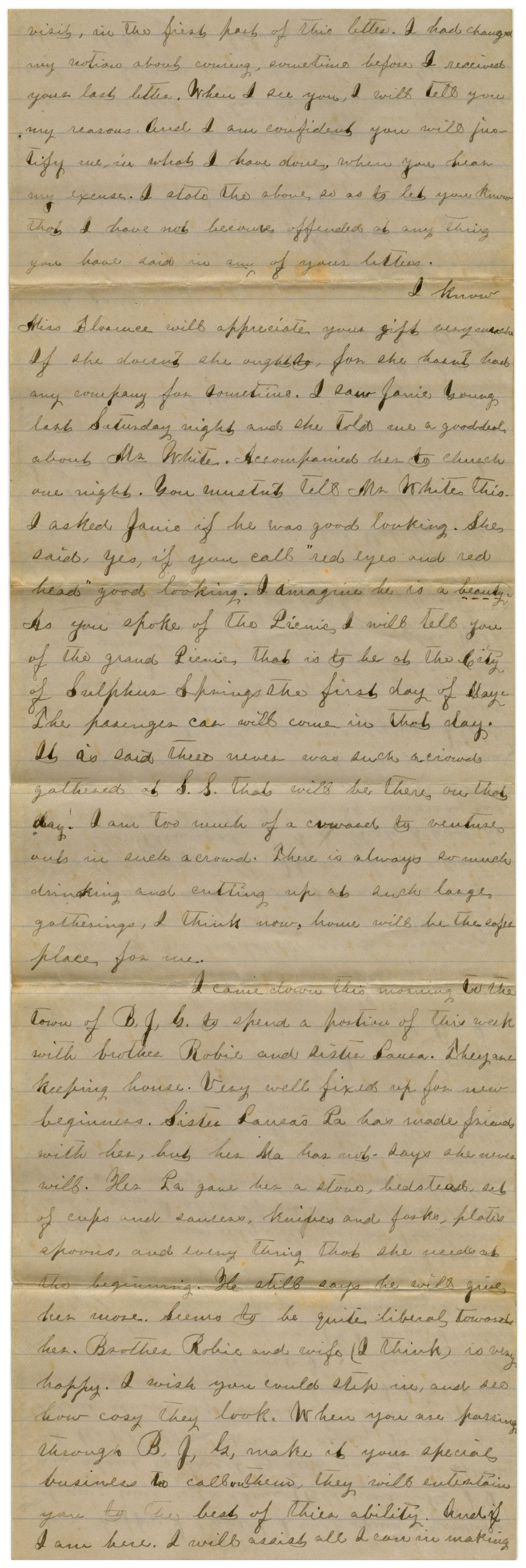 [Letter from Emma Davis to John C. Brewer, April 13 & 14, 1879]                                                                                                      [Sequence #]: 5 of 6