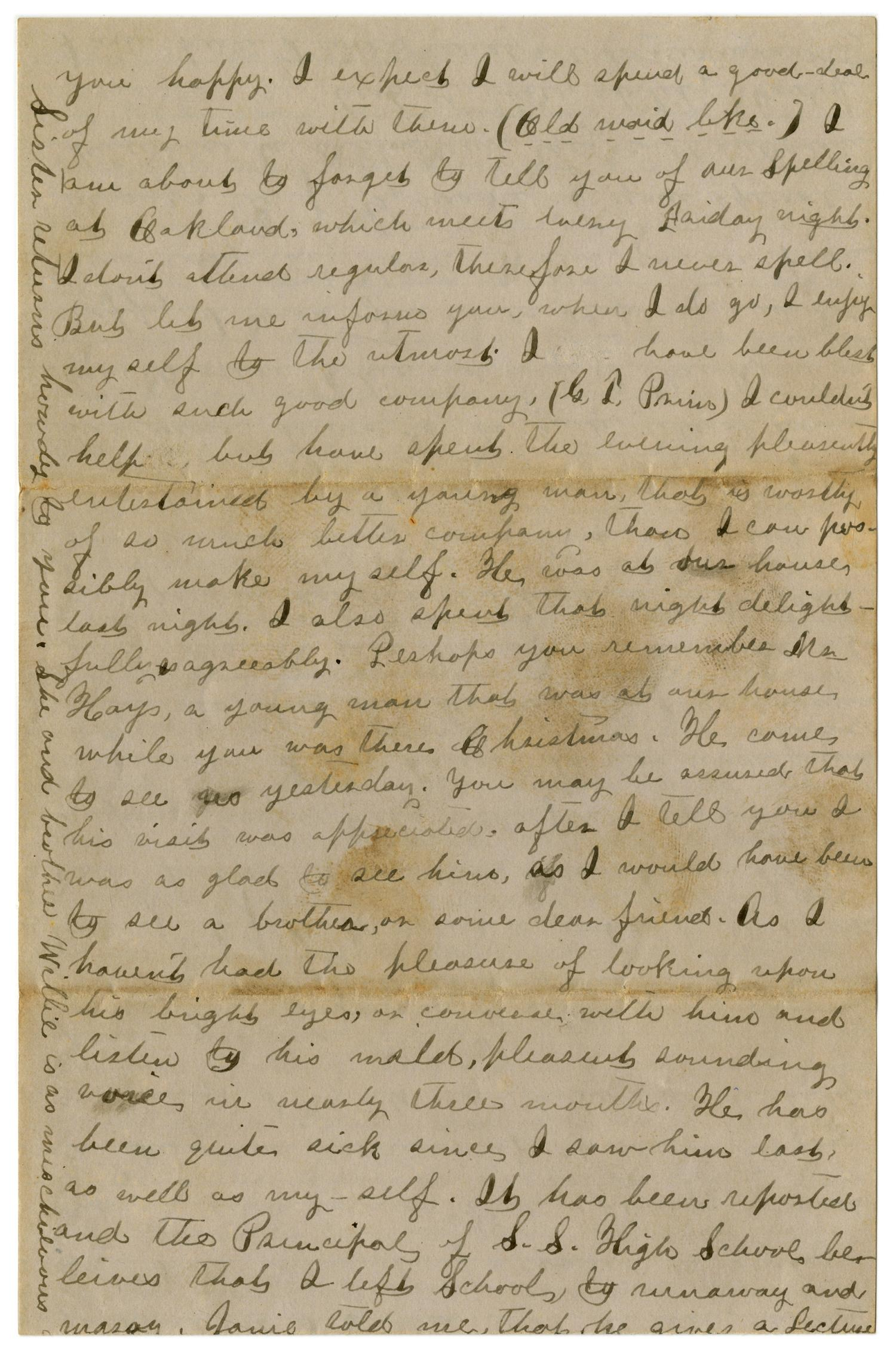 [Letter from Emma Davis to John C. Brewer, April 13 & 14, 1879]                                                                                                      [Sequence #]: 6 of 6