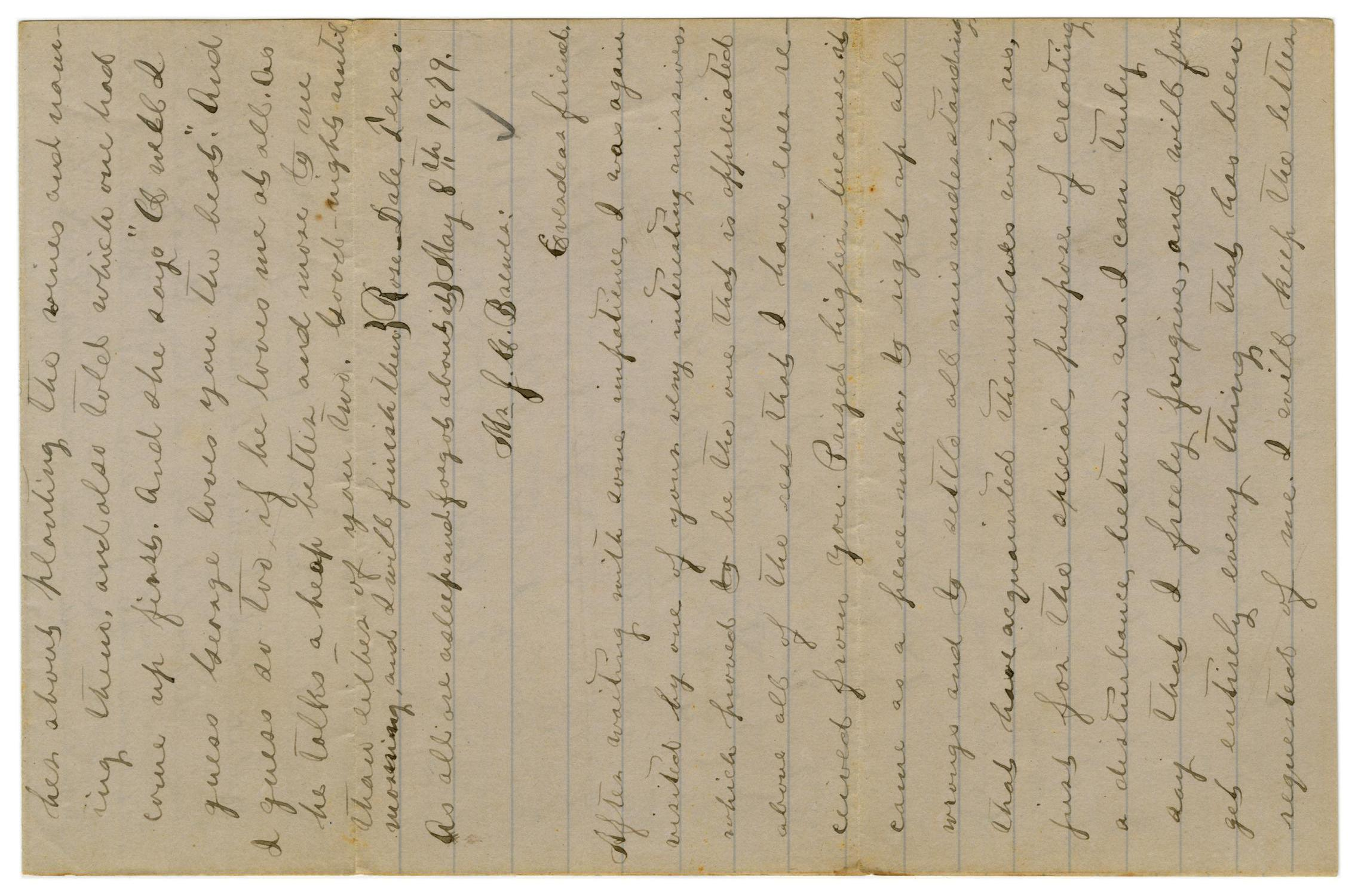 [Letter from Emma Davis to John C. Brewer, May 8, 1879]                                                                                                      [Sequence #]: 1 of 6