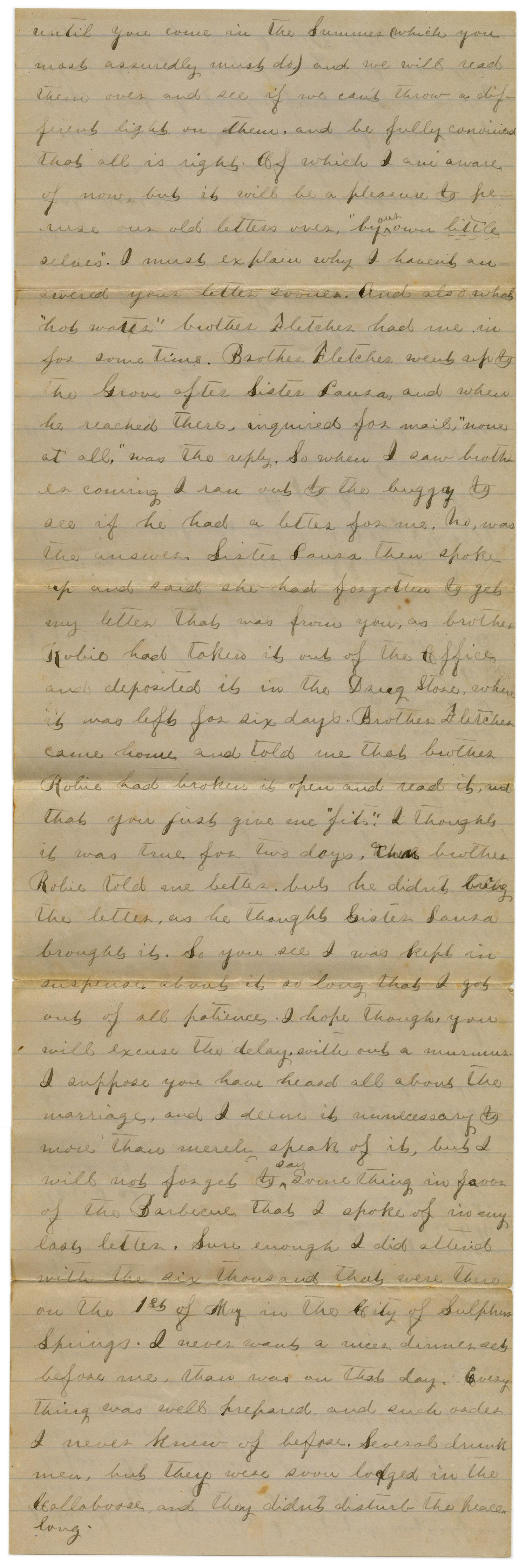 [Letter from Emma Davis to John C. Brewer, May 8, 1879]                                                                                                      [Sequence #]: 2 of 6