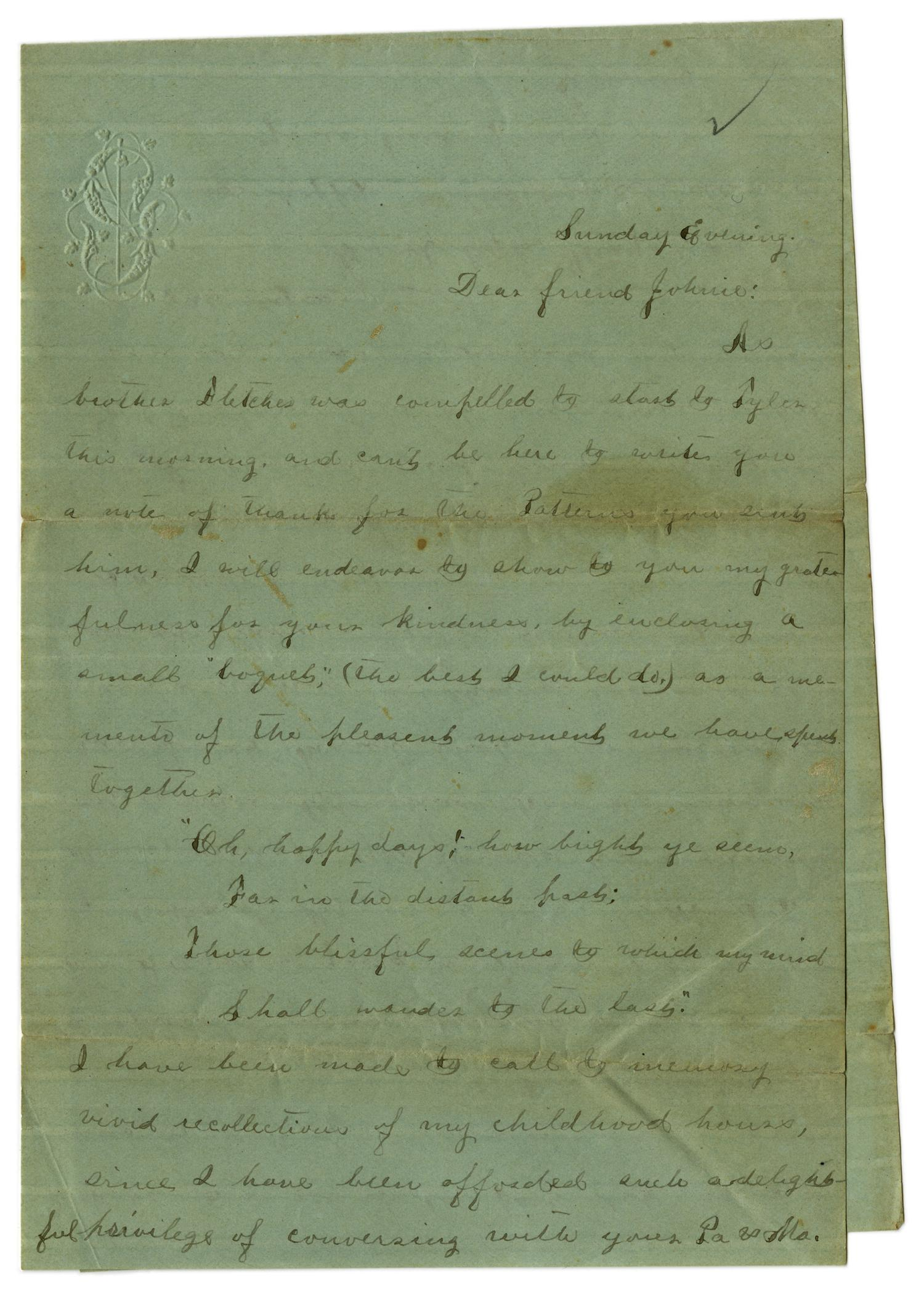 [Letter from Emma Davis to John C. Brewer, May 11, 1879]                                                                                                      [Sequence #]: 1 of 3