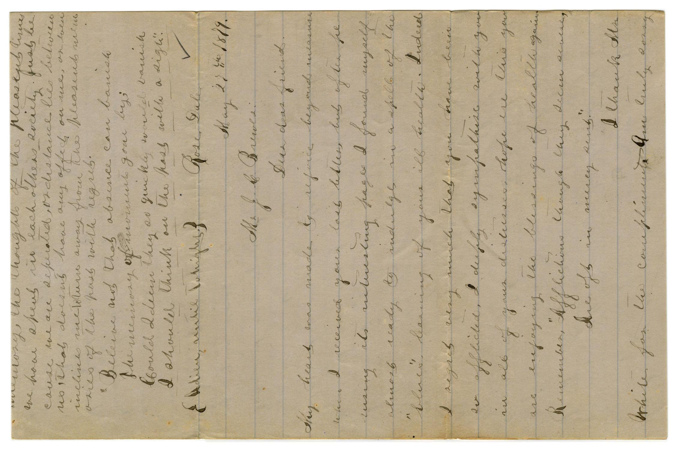 [Letter from Emma Davis to John C. Brewer, May 27, 1879]                                                                                                      [Sequence #]: 1 of 6