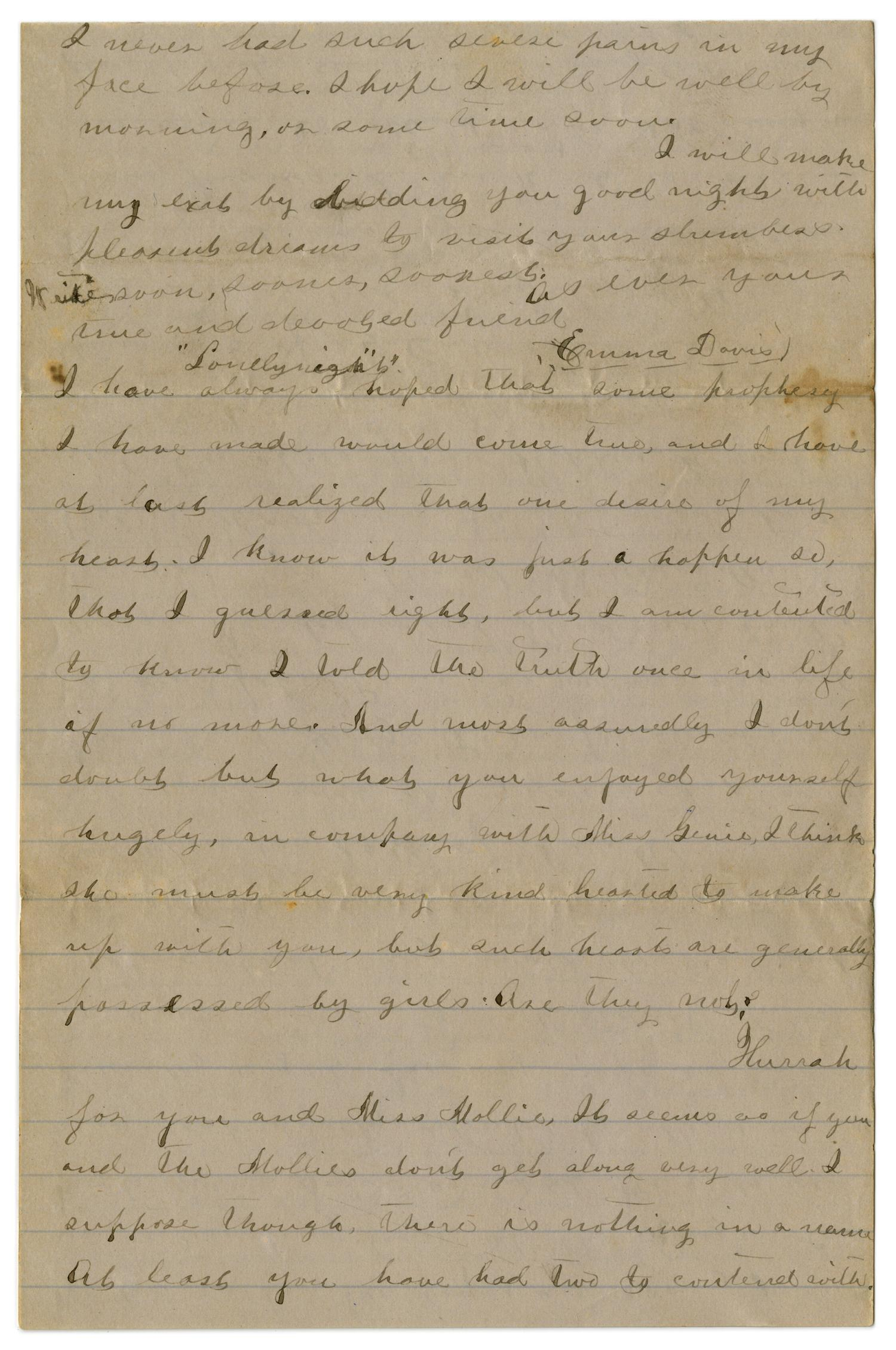[Letter from Emma Davis to John C. Brewer, May 27, 1879]                                                                                                      [Sequence #]: 4 of 6