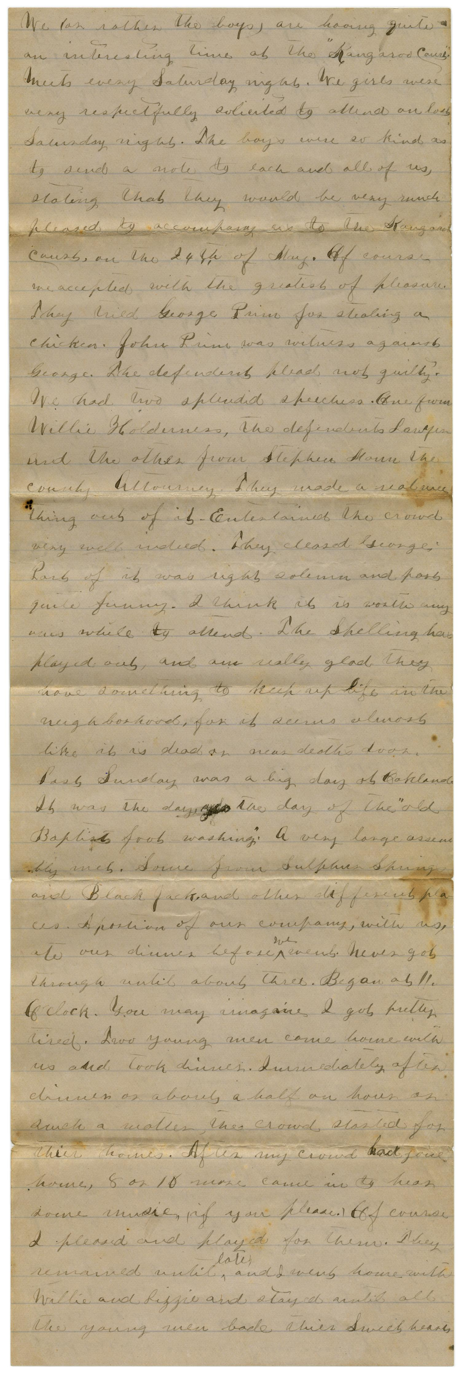 [Letter from Emma Davis to John C. Brewer, May 27, 1879]                                                                                                      [Sequence #]: 5 of 6