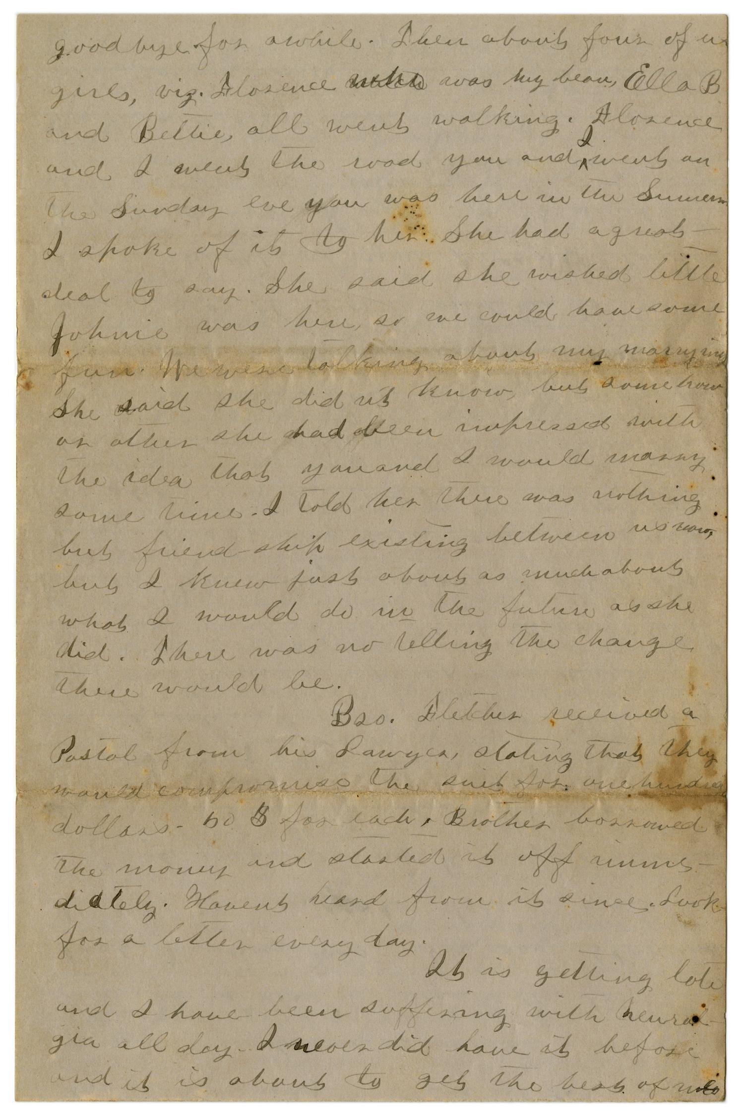 [Letter from Emma Davis to John C. Brewer, May 27, 1879]                                                                                                      [Sequence #]: 6 of 6