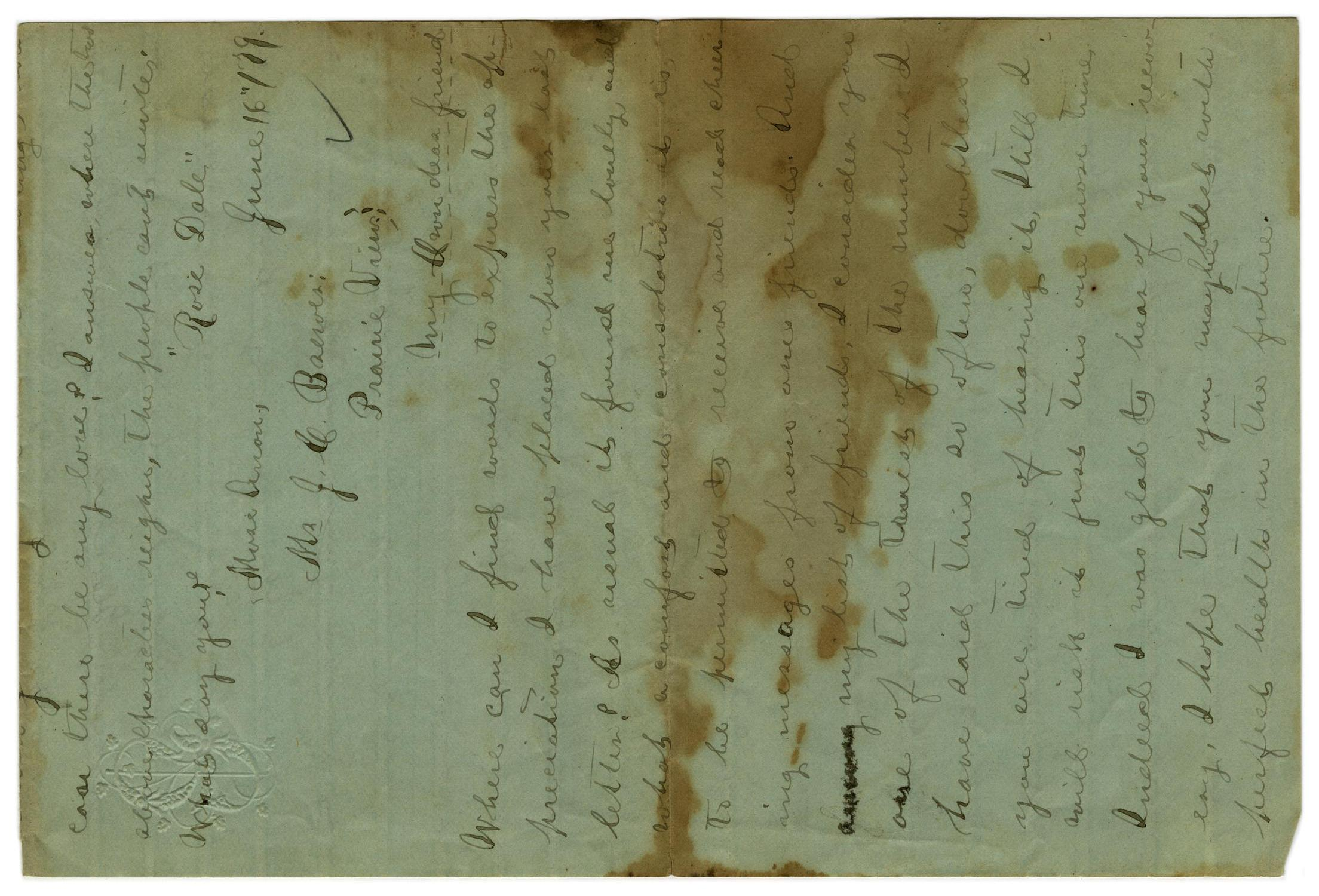 [Letter from Emma Davis to John C. Brewer, June 16, 1879]                                                                                                      [Sequence #]: 1 of 6
