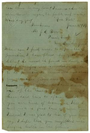 Primary view of object titled '[Letter from Emma Davis to John C. Brewer, June 16, 1879]'.