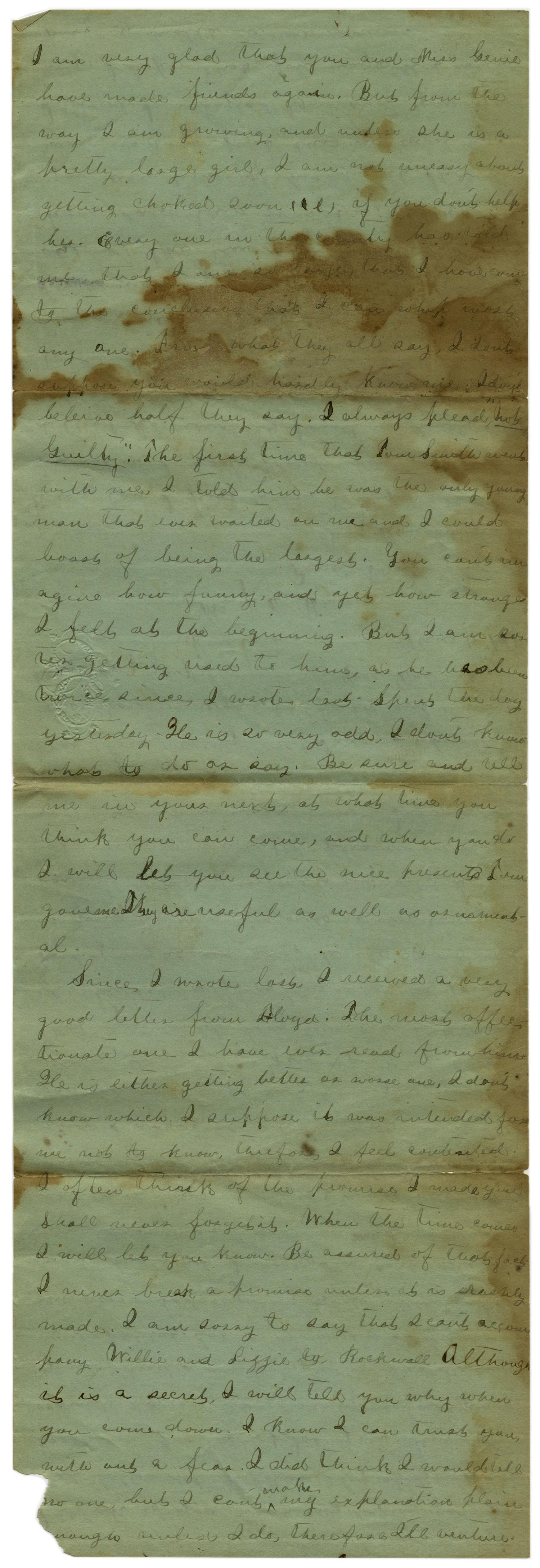 [Letter from Emma Davis to John C. Brewer, June 16, 1879]                                                                                                      [Sequence #]: 2 of 6