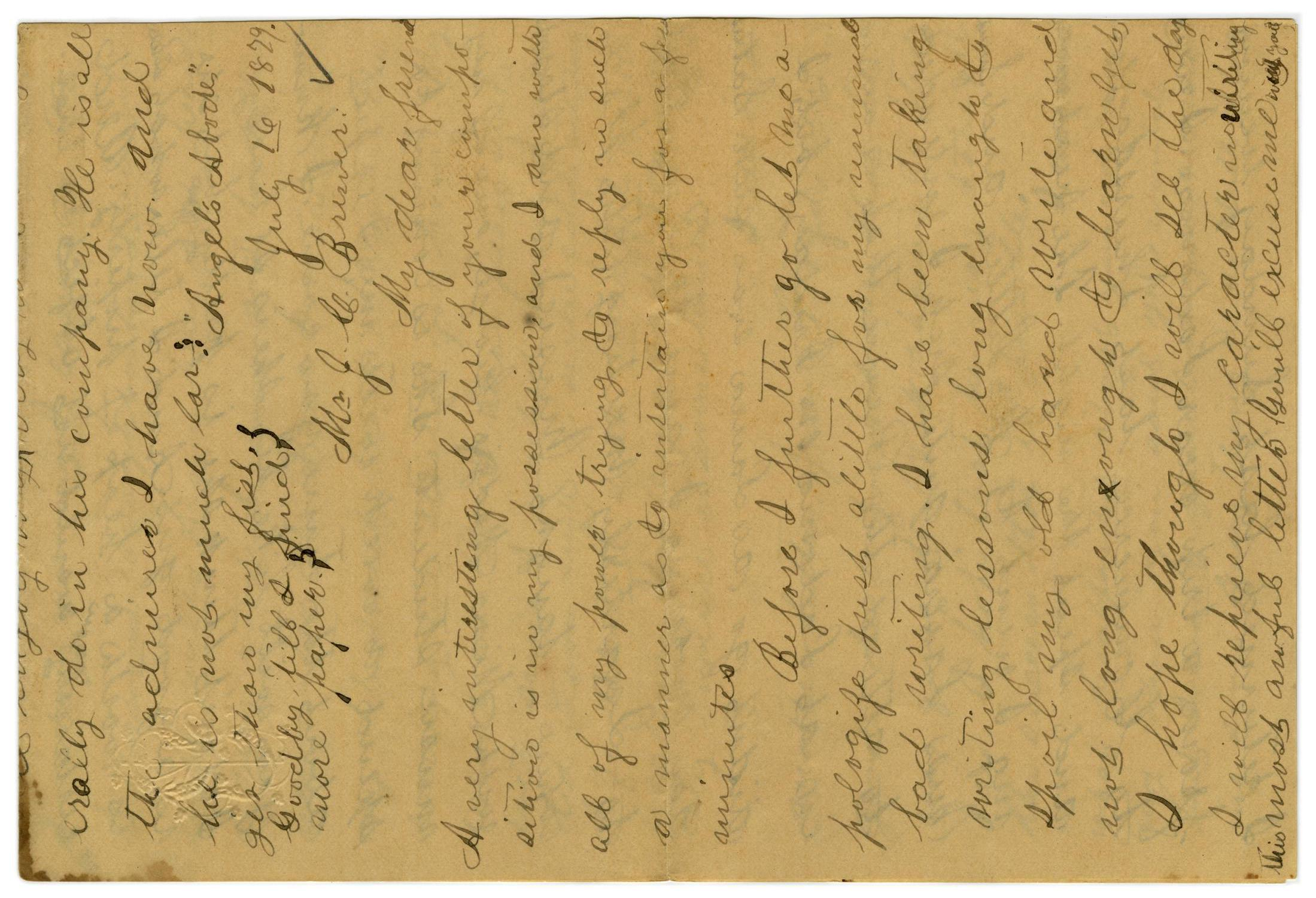 [Letter from Emma Davis to John C. Brewer, July 16, 1879]                                                                                                      [Sequence #]: 1 of 6