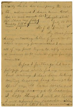 Primary view of object titled '[Letter from Emma Davis to John C. Brewer, July 16, 1879]'.