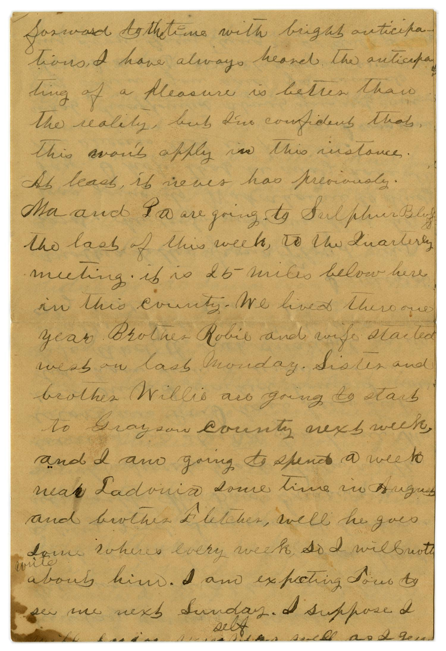 [Letter from Emma Davis to John C. Brewer, July 16, 1879]                                                                                                      [Sequence #]: 3 of 6