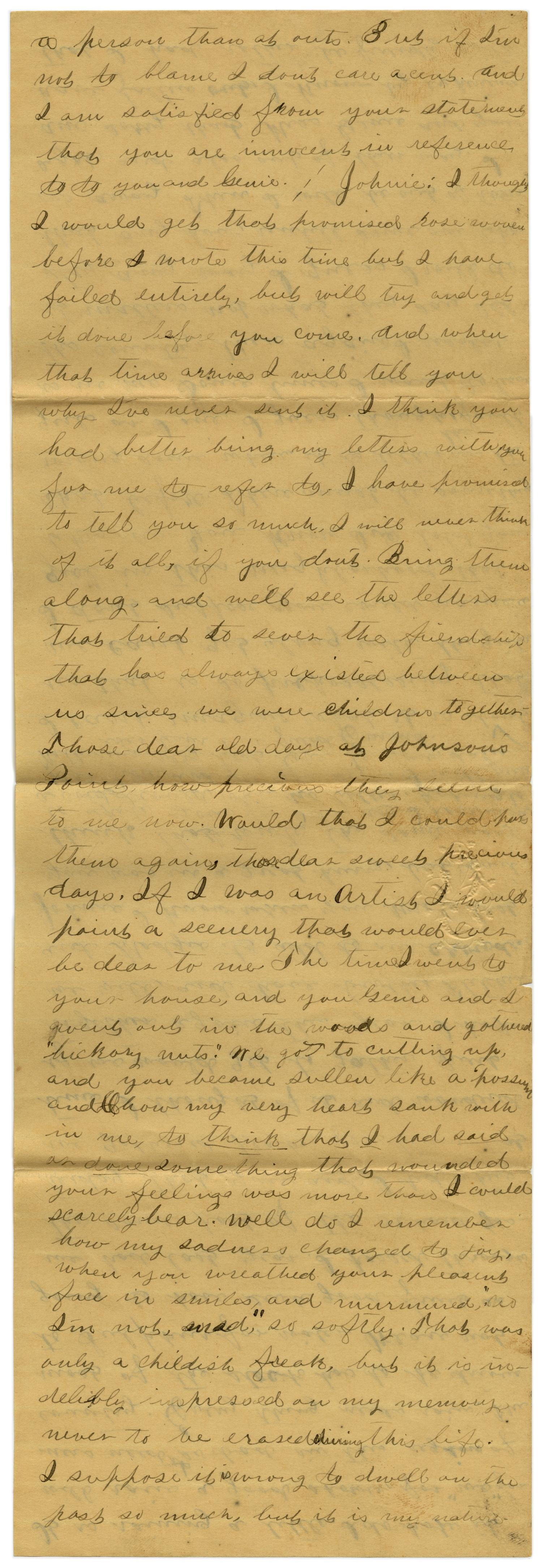 [Letter from Emma Davis to John C. Brewer, July 16, 1879]                                                                                                      [Sequence #]: 5 of 6