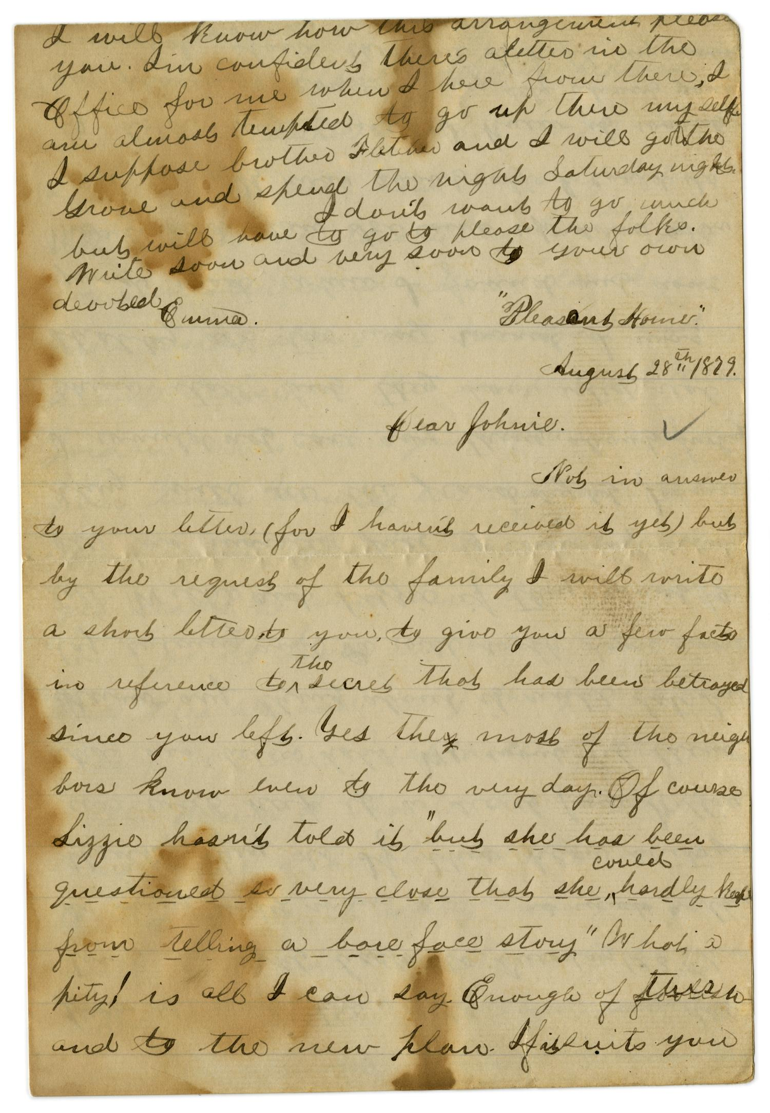 [Letter from Emma Davis to John C. Brewer, August 28, 1879]                                                                                                      [Sequence #]: 1 of 3