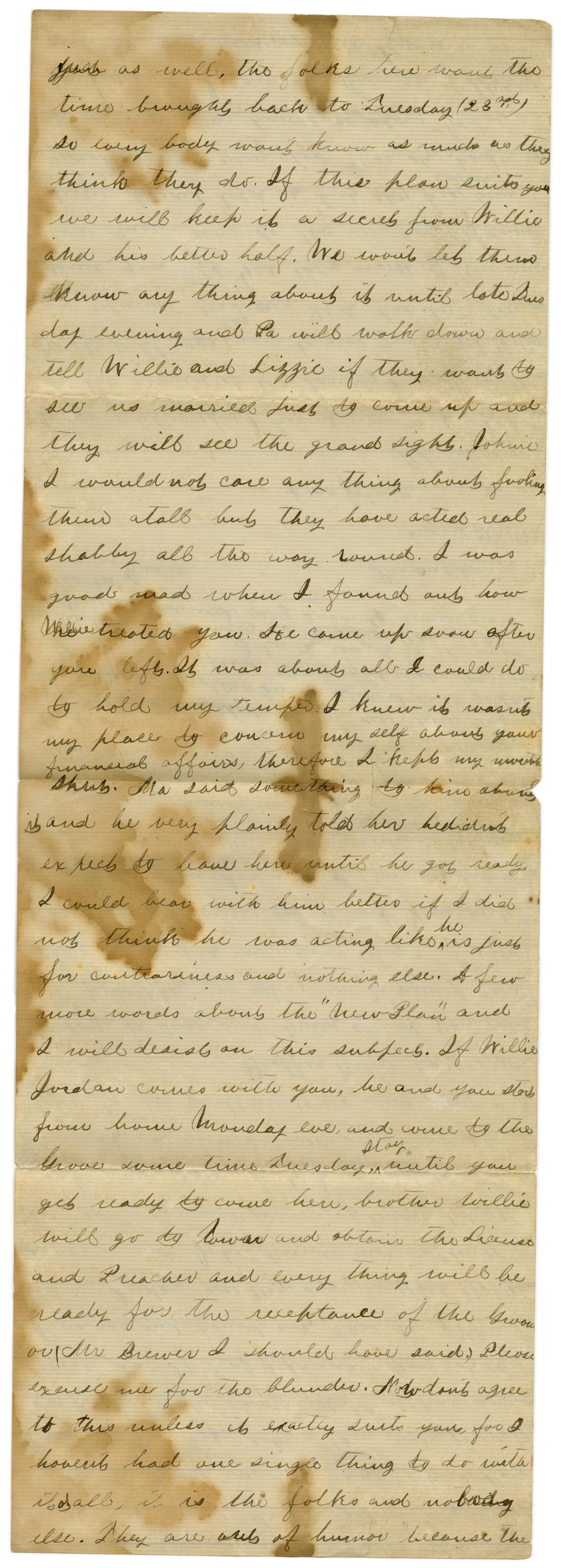 [Letter from Emma Davis to John C. Brewer, August 28, 1879]                                                                                                      [Sequence #]: 2 of 3