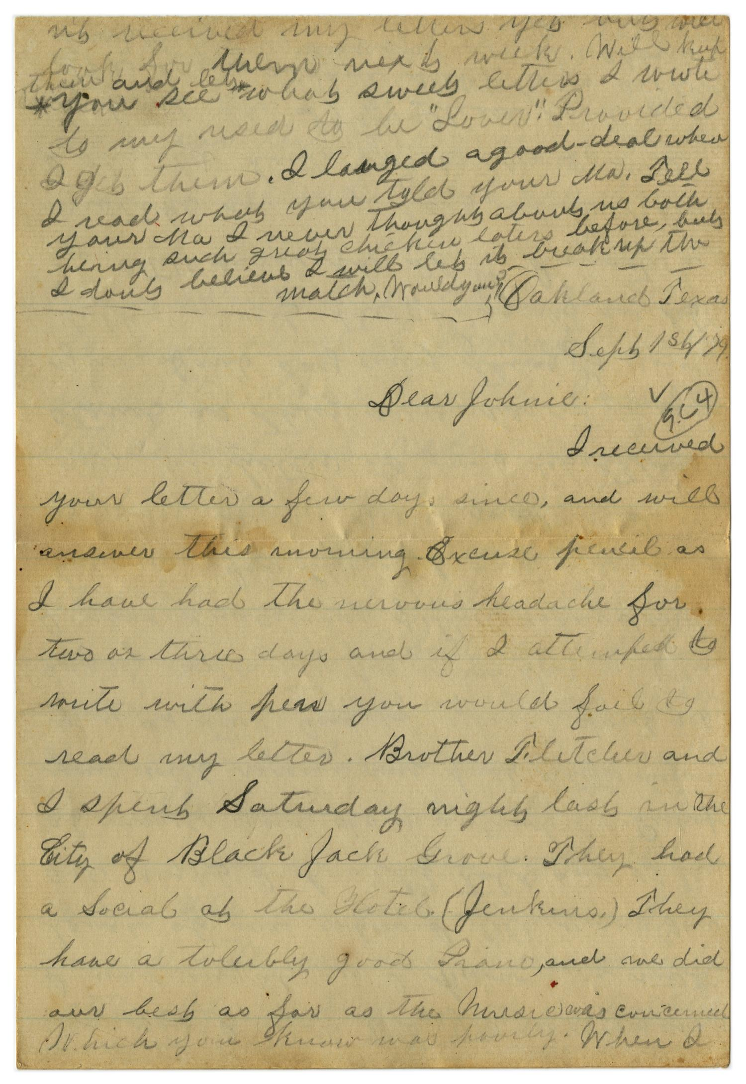 [Letter from Emma Davis to John C. Brewer, September 1, 1879]                                                                                                      [Sequence #]: 1 of 6