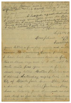 Primary view of object titled '[Letter from Emma Davis to John C. Brewer, September 1, 1879]'.