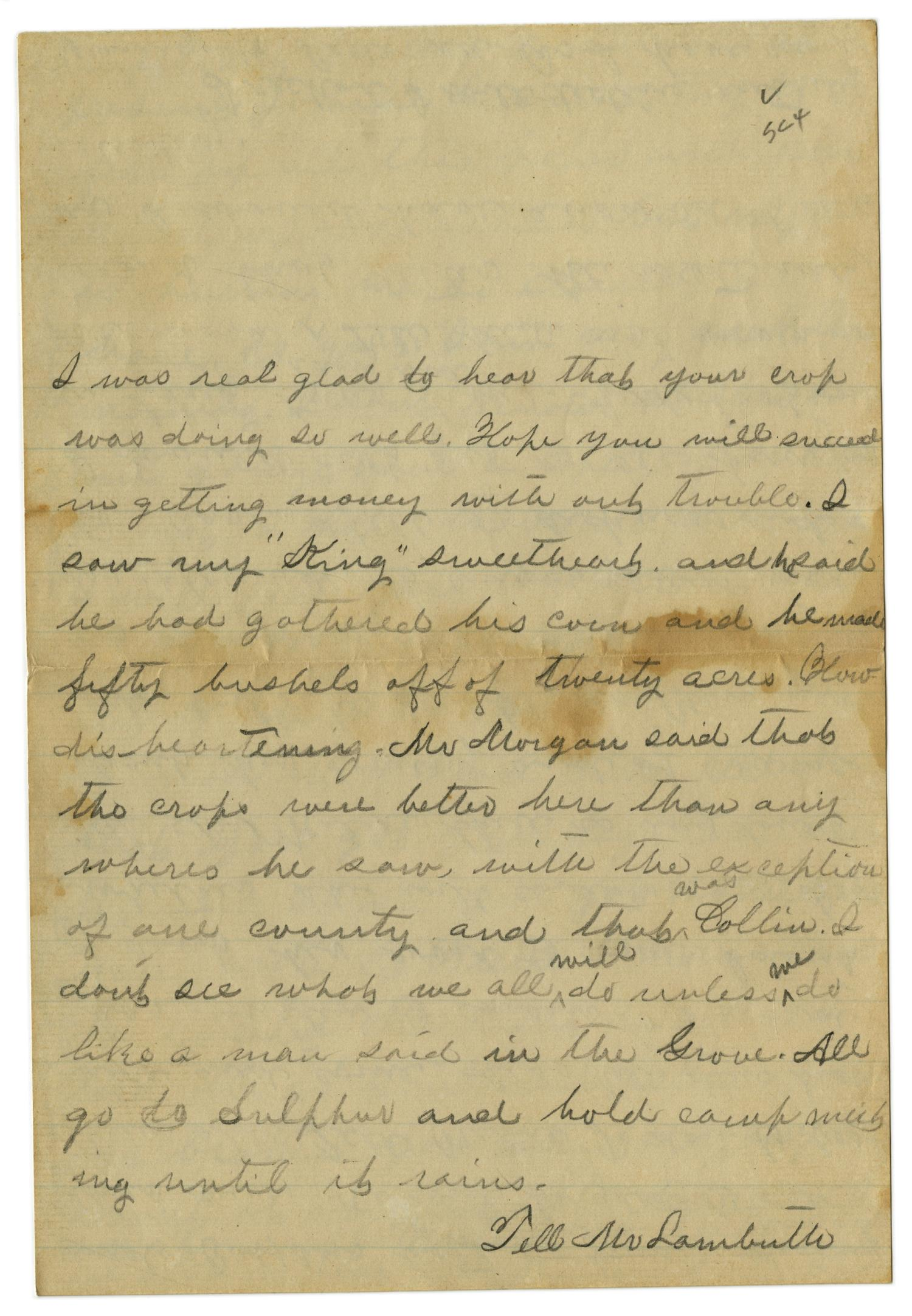 [Letter from Emma Davis to John C. Brewer, September 1, 1879]                                                                                                      [Sequence #]: 4 of 6