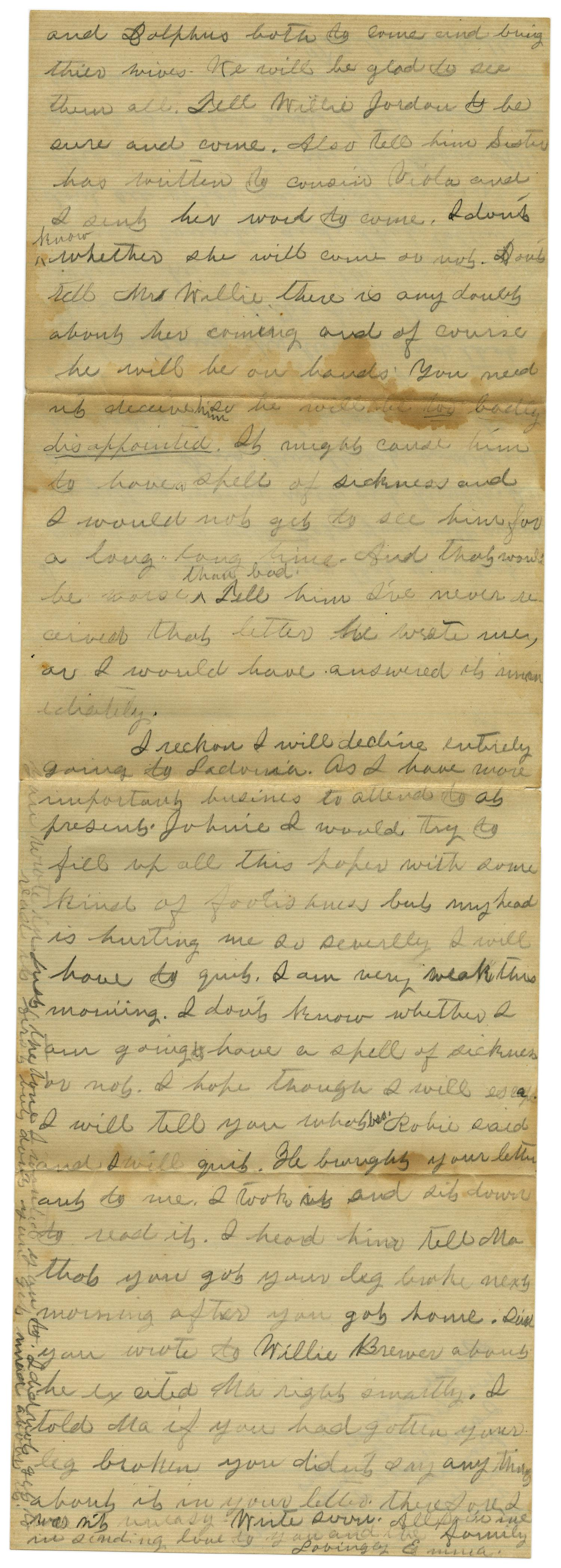 [Letter from Emma Davis to John C. Brewer, September 1, 1879]                                                                                                      [Sequence #]: 5 of 6