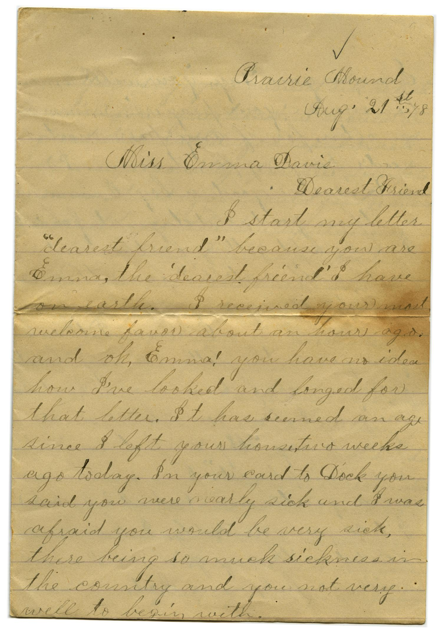 [Letter from John C. Brewer to Emma Davis, August 21, 1878]                                                                                                      [Sequence #]: 1 of 6