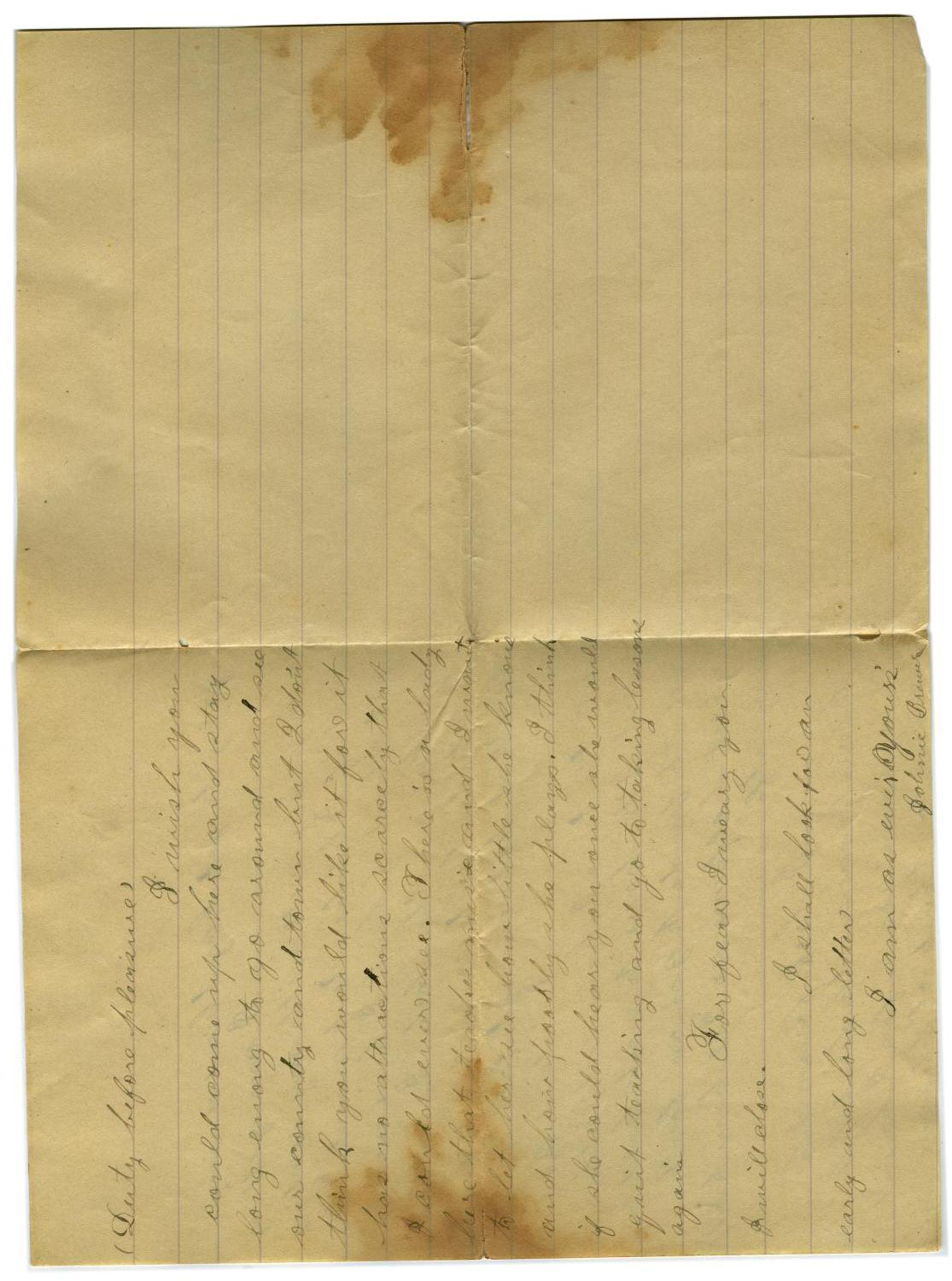 [Letter from John C. Brewer to Emma Davis, August 21, 1878]                                                                                                      [Sequence #]: 5 of 6