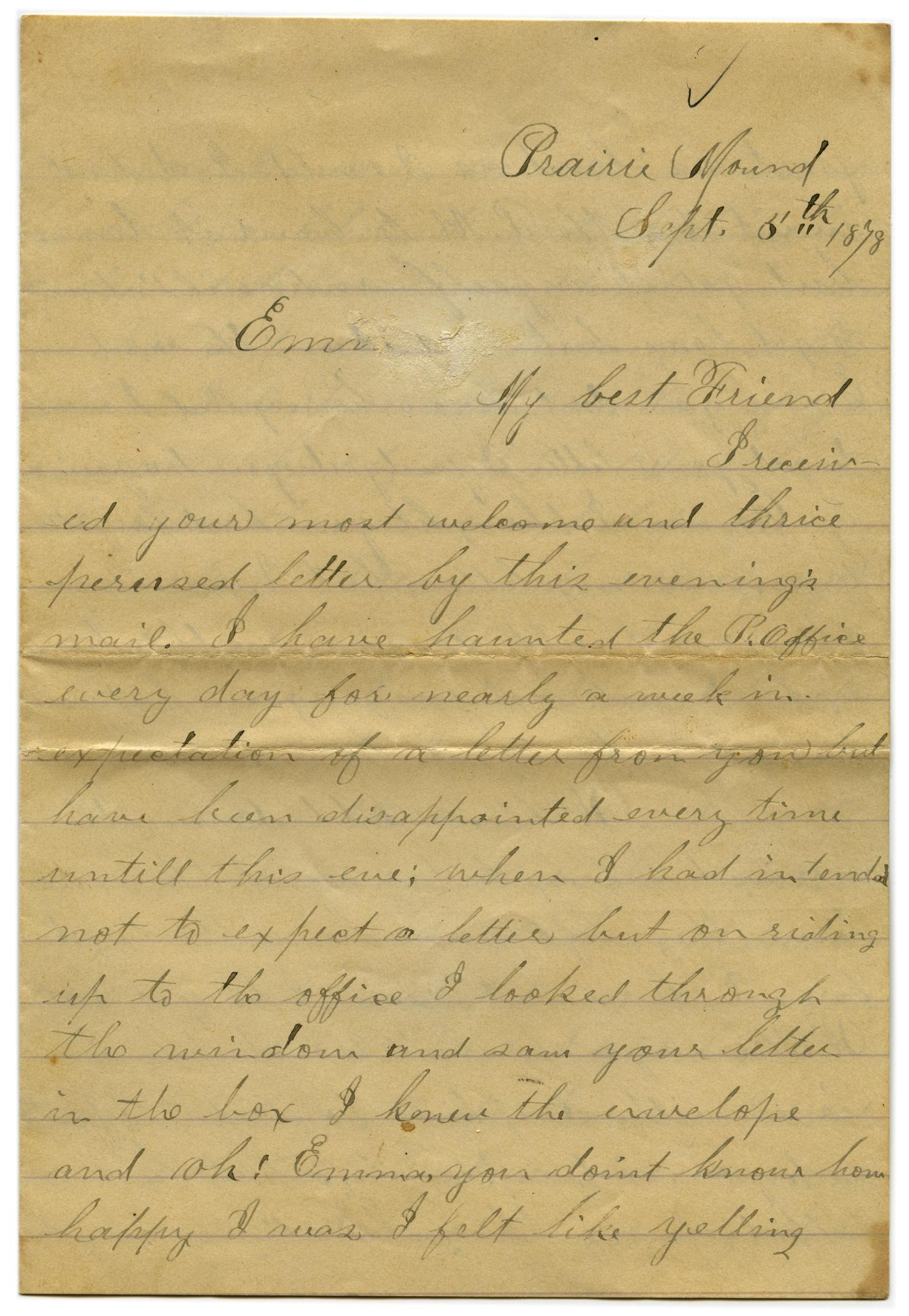 [Letter from John C. Brewer to Emma Davis, September 8, 1878]                                                                                                      [Sequence #]: 1 of 5