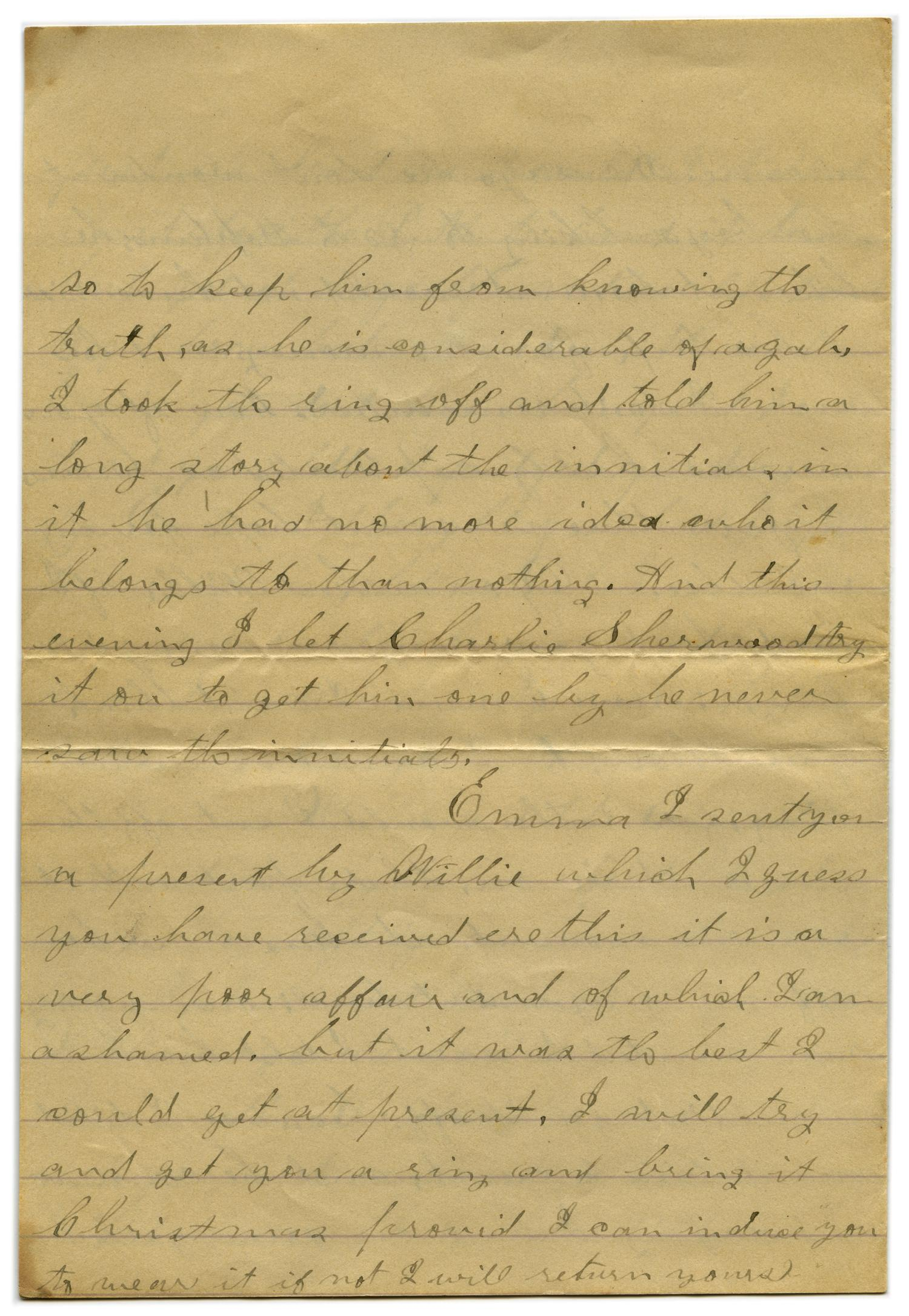 [Letter from John C. Brewer to Emma Davis, September 8, 1878]                                                                                                      [Sequence #]: 3 of 5