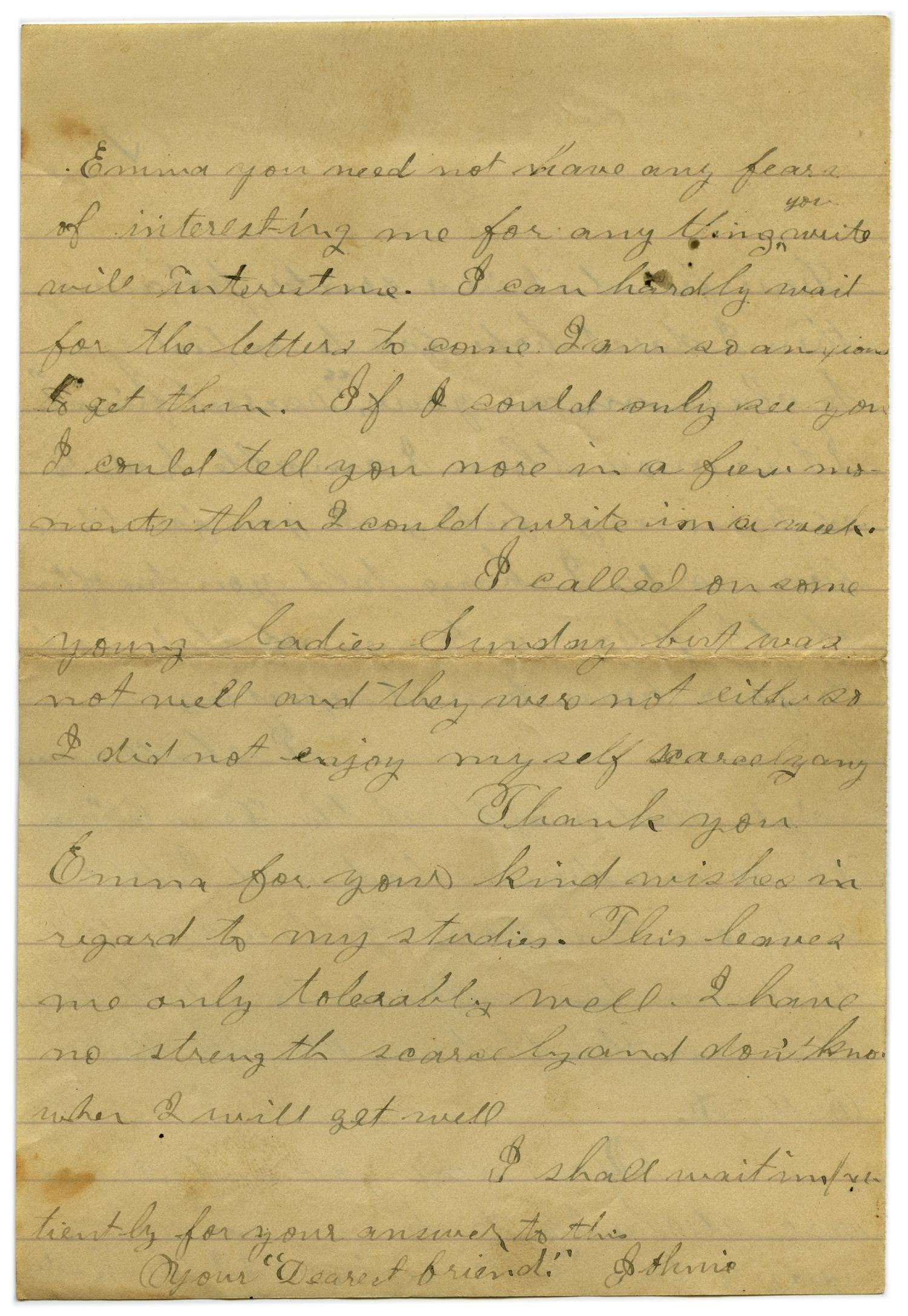 [Letter from John C. Brewer to Emma Davis, September 8, 1878]                                                                                                      [Sequence #]: 5 of 5