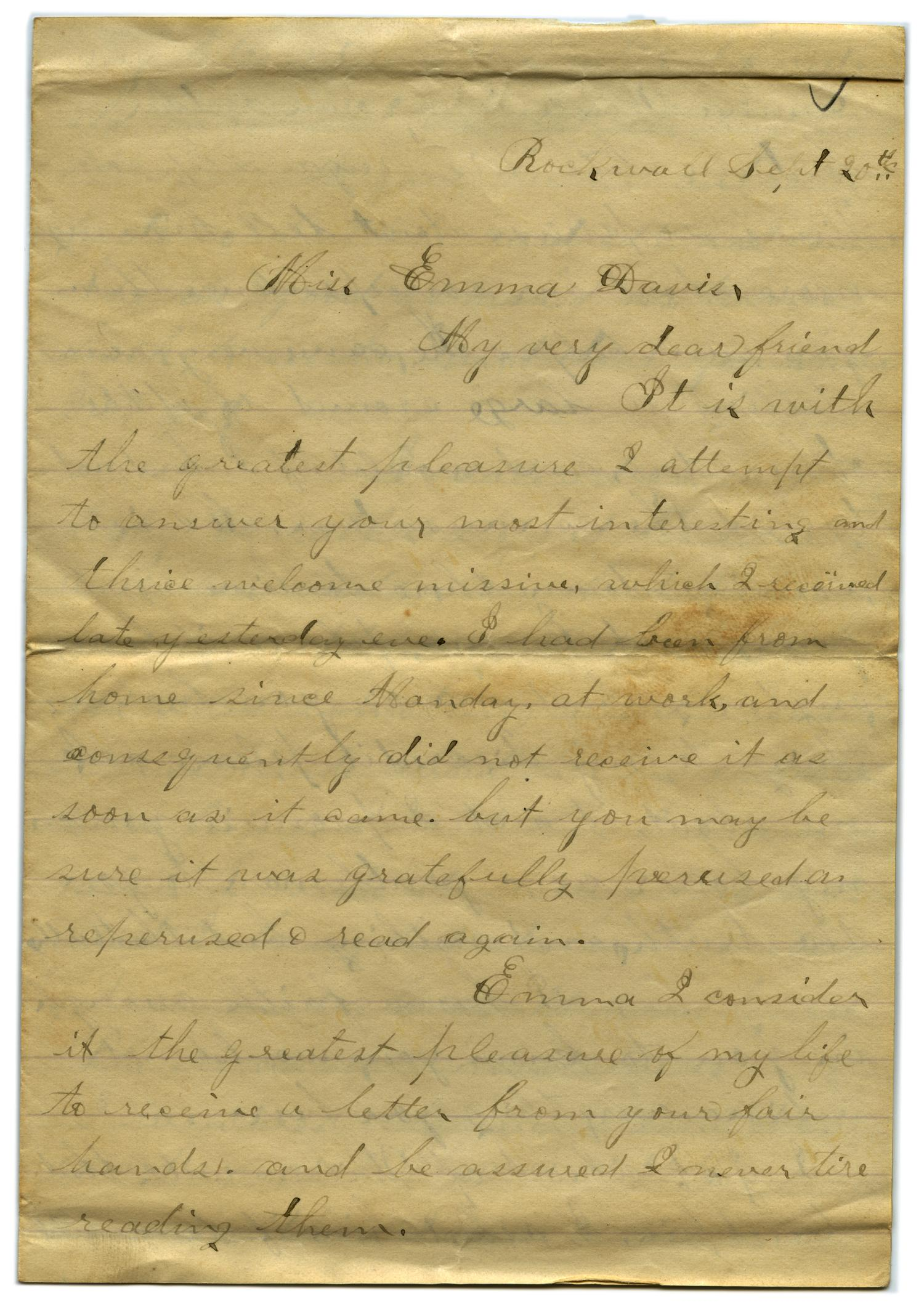 [Letter from John C. Brewer to Emma Davis, September 20, 1878]                                                                                                      [Sequence #]: 1 of 5