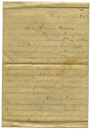 Primary view of object titled '[Letter from John C. Brewer to Emma Davis, September 20, 1878]'.