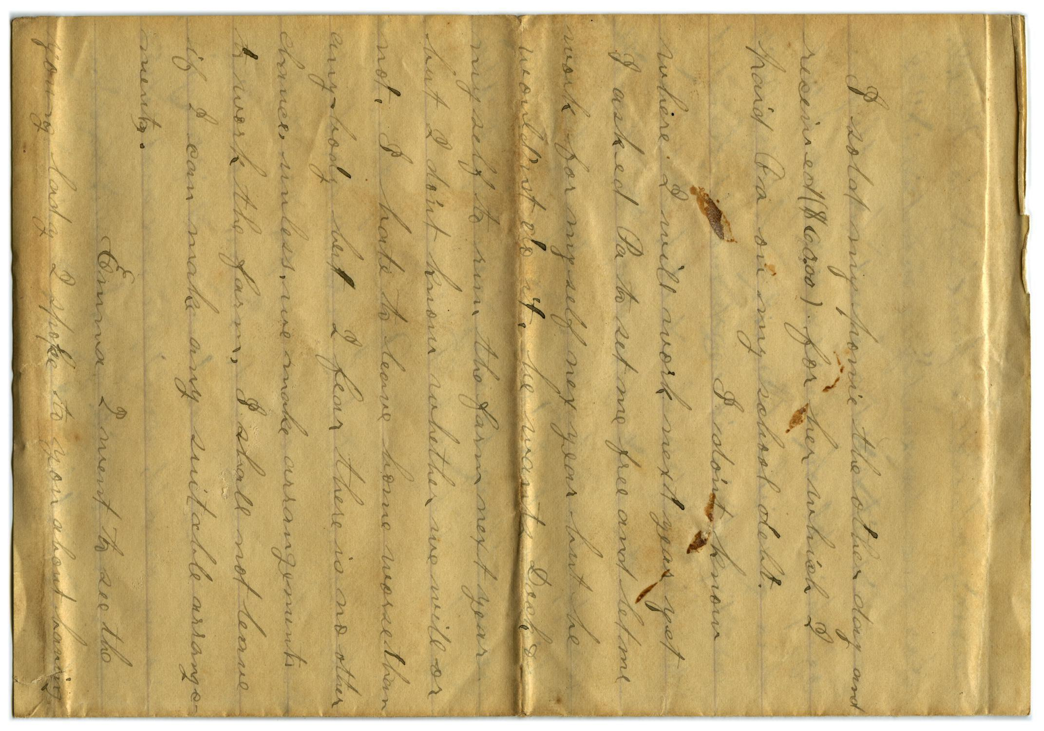 [Letter from John C. Brewer to Emma Davis, September 20, 1878]                                                                                                      [Sequence #]: 3 of 5