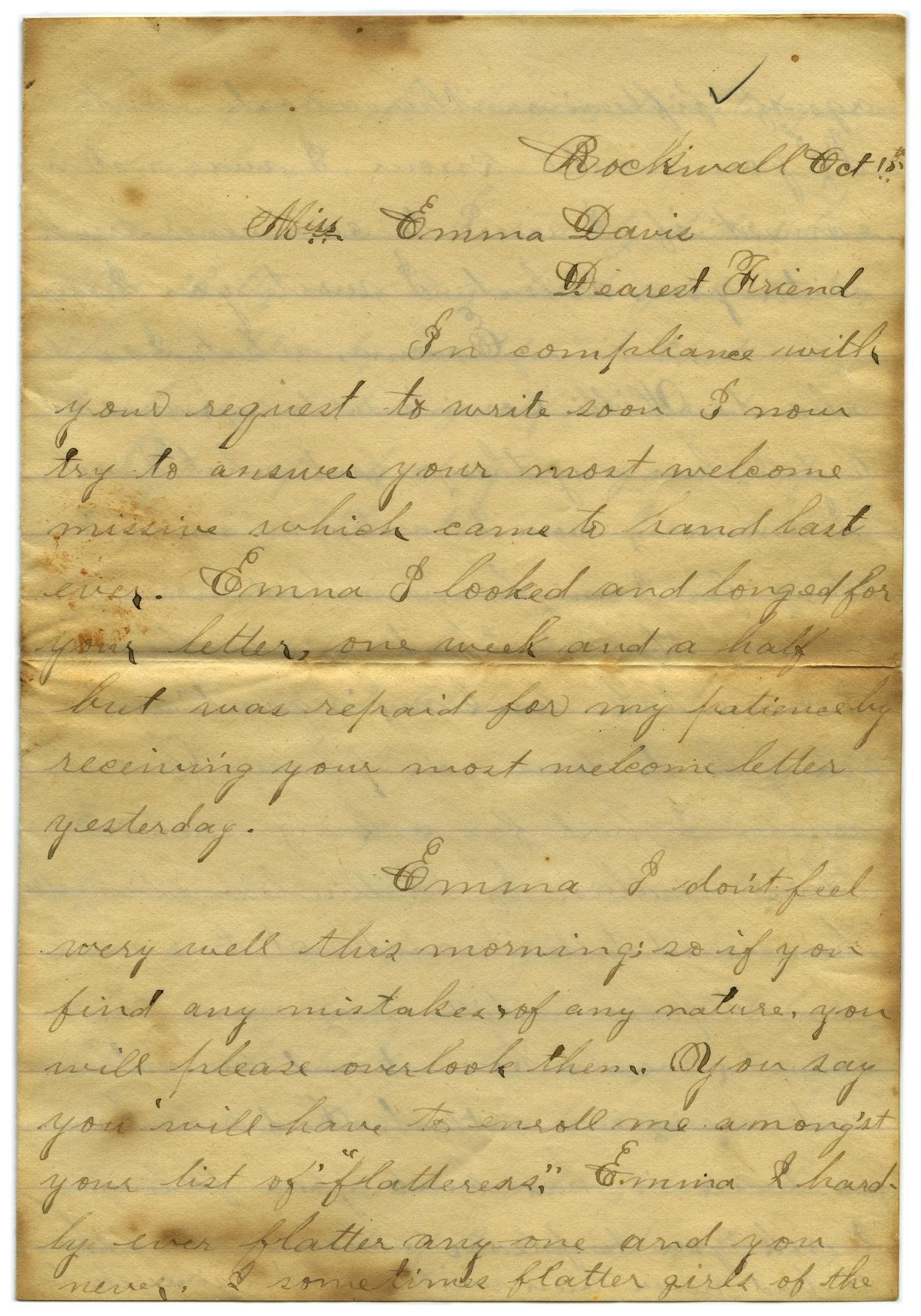 [Letter from John C. Brewer to Emma Davis, October 15, 1878]                                                                                                      [Sequence #]: 1 of 6