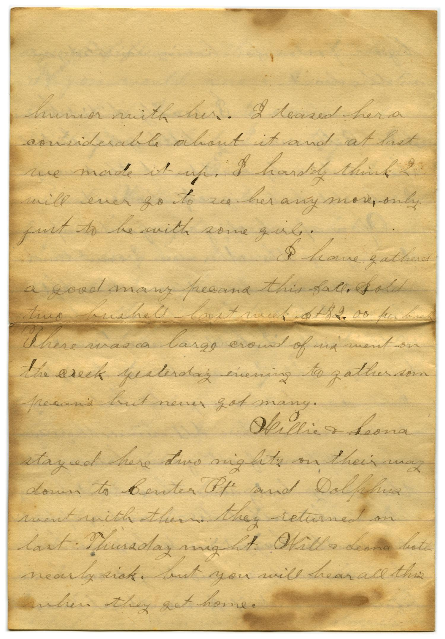 [Letter from John C. Brewer to Emma Davis, October 15, 1878]                                                                                                      [Sequence #]: 3 of 6