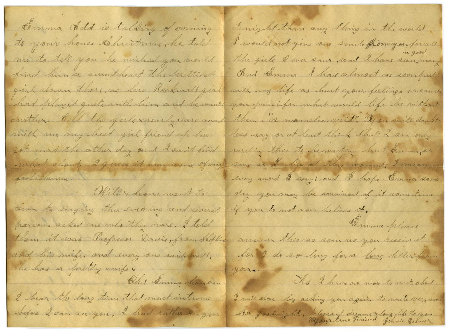 [Letter from John C. Brewer to Emma Davis, October 15, 1878]                                                                                                      [Sequence #]: 5 of 6