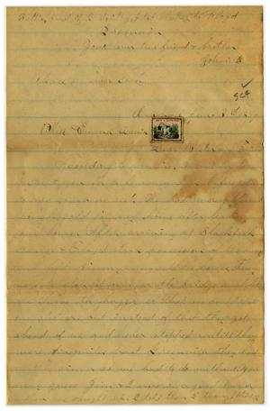 Primary view of object titled '[Letter from John C. Brewer to Emma Davis, January 3, 1879]'.