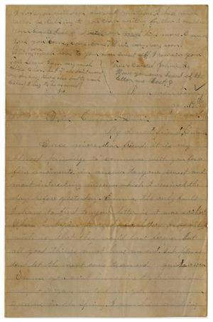 Primary view of object titled '[Letter from John C. Brewer to Emma Davis, January 19, 1879]'.
