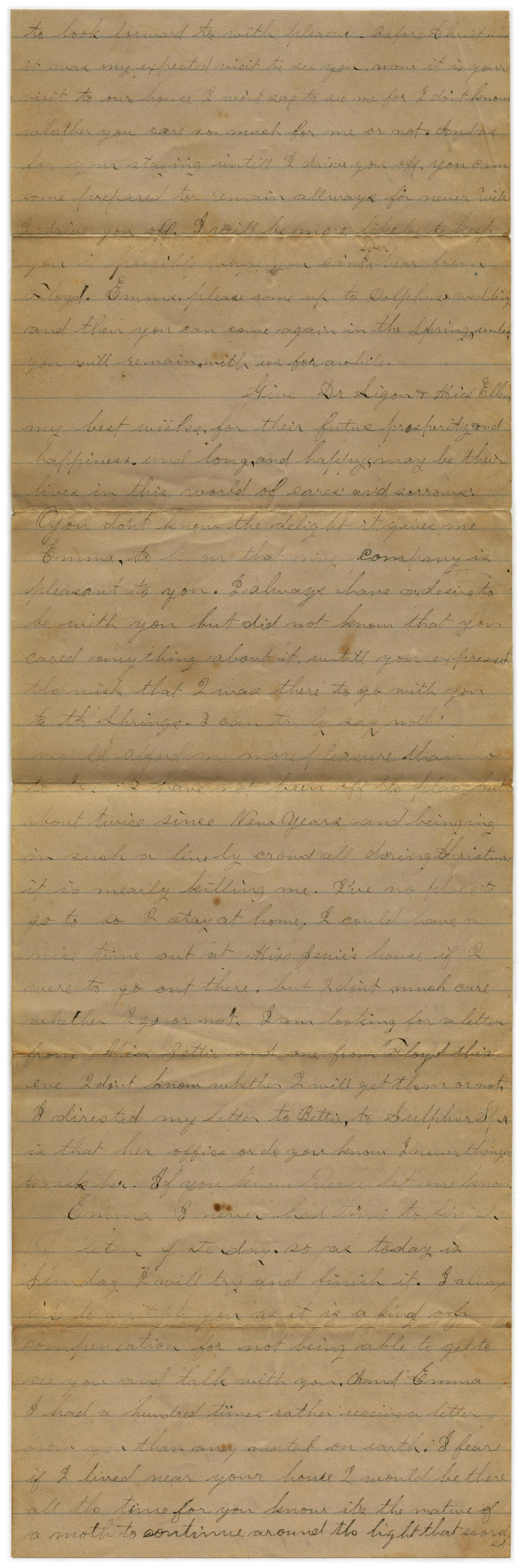 [Letter from John C. Brewer to Emma Davis, January 19, 1879]                                                                                                      [Sequence #]: 2 of 3