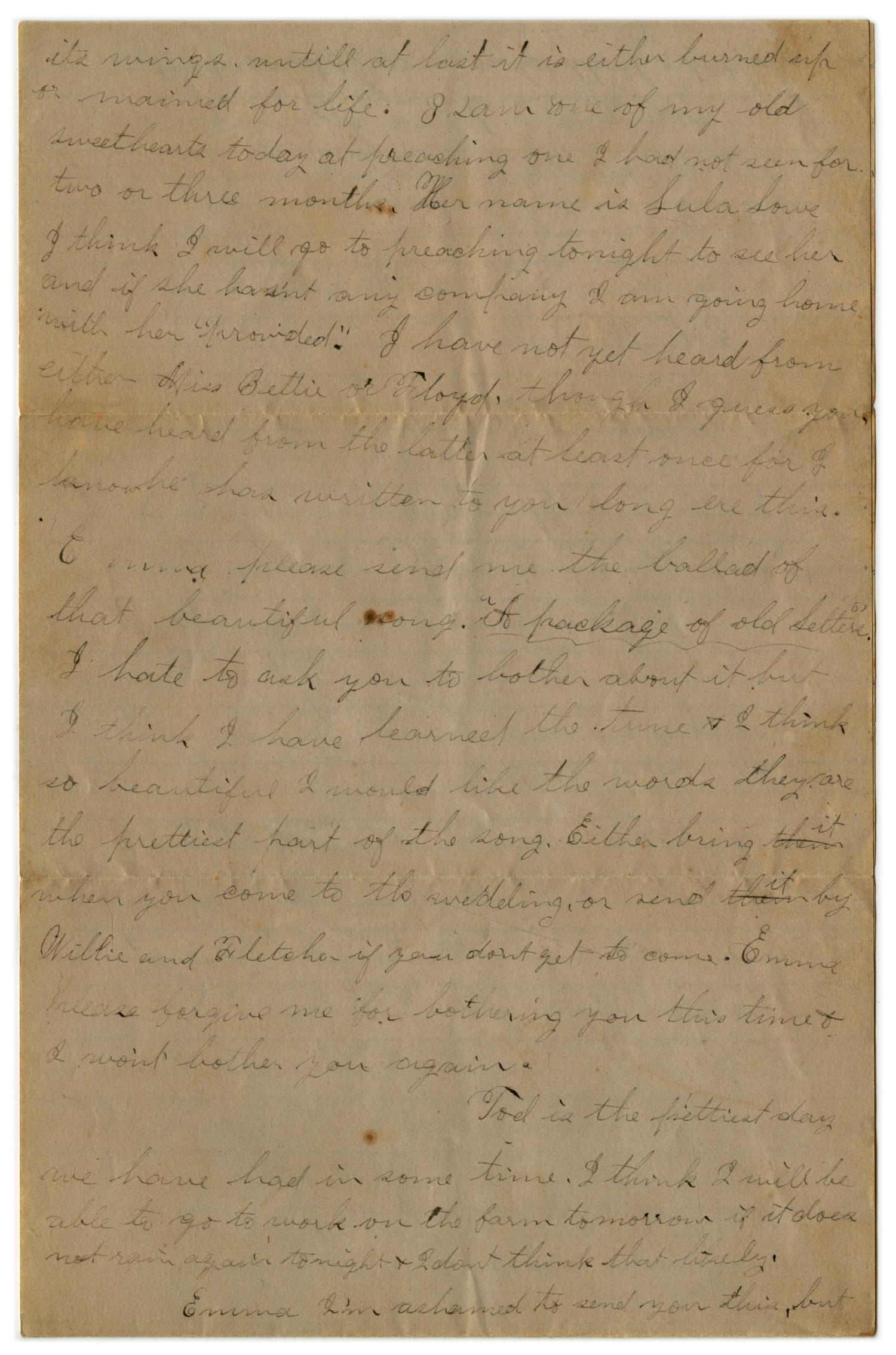 [Letter from John C. Brewer to Emma Davis, January 19, 1879]                                                                                                      [Sequence #]: 3 of 3