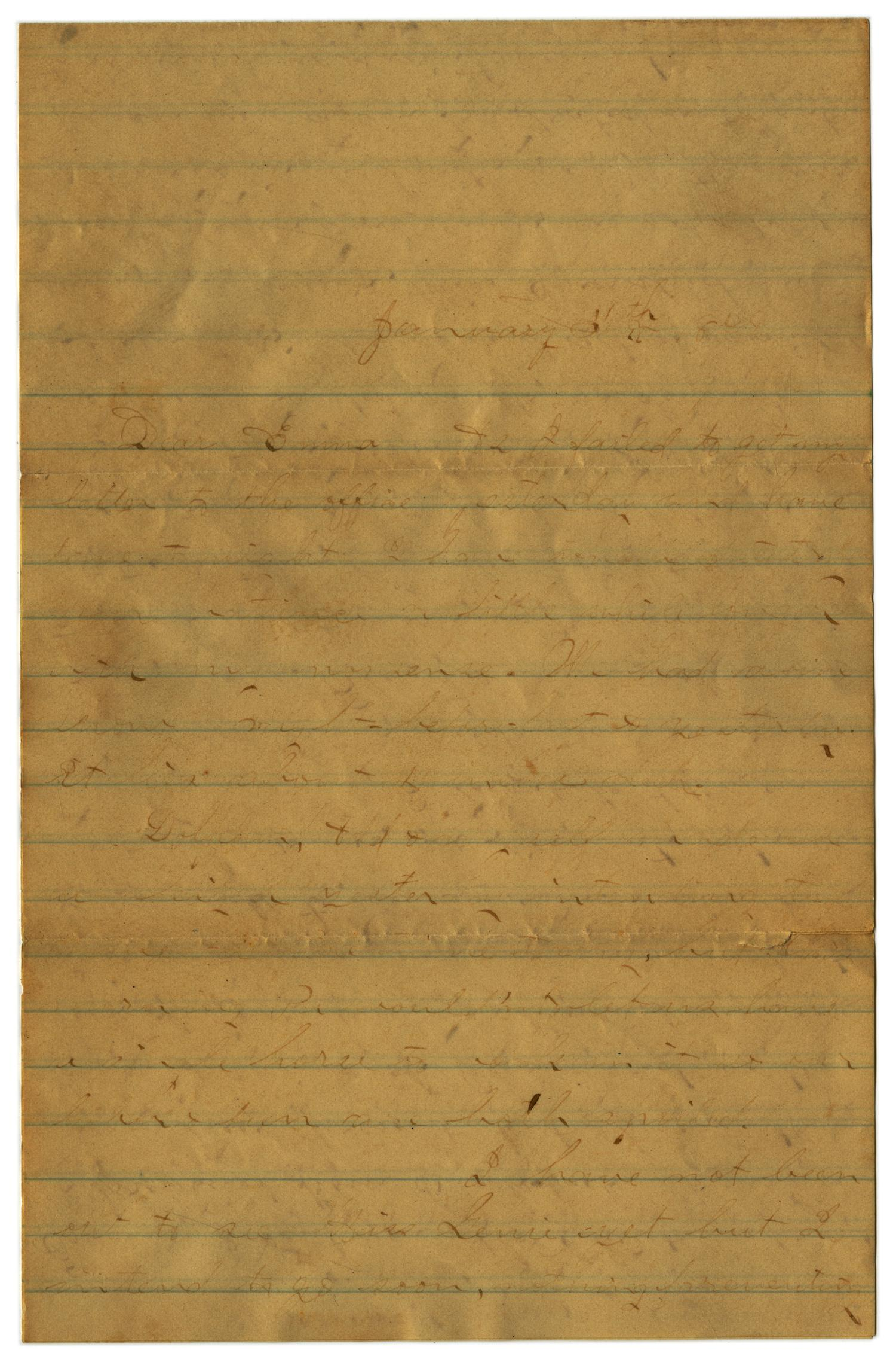 [Letter from John C. Brewer to Emma Davis, January 30, 1879]                                                                                                      [Sequence #]: 1 of 3