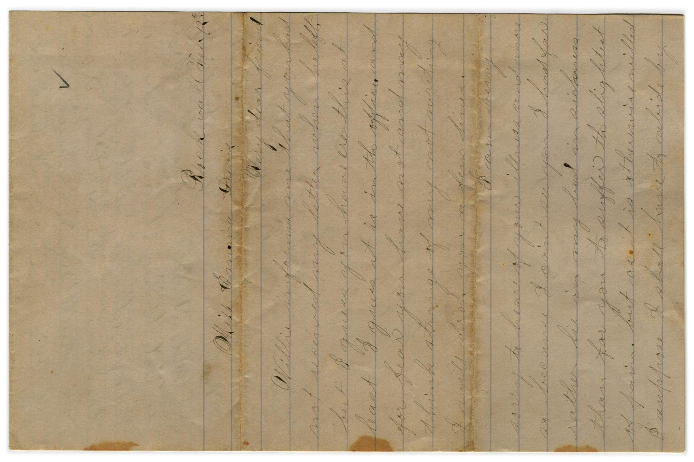 [Letter from John C. Brewer to Emma Davis, February 12-14, 1879]                                                                                                      [Sequence #]: 1 of 3