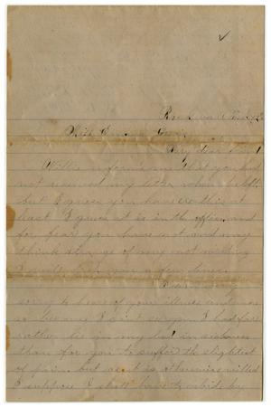 Primary view of object titled '[Letter from John C. Brewer to Emma Davis, February 12-14, 1879]'.