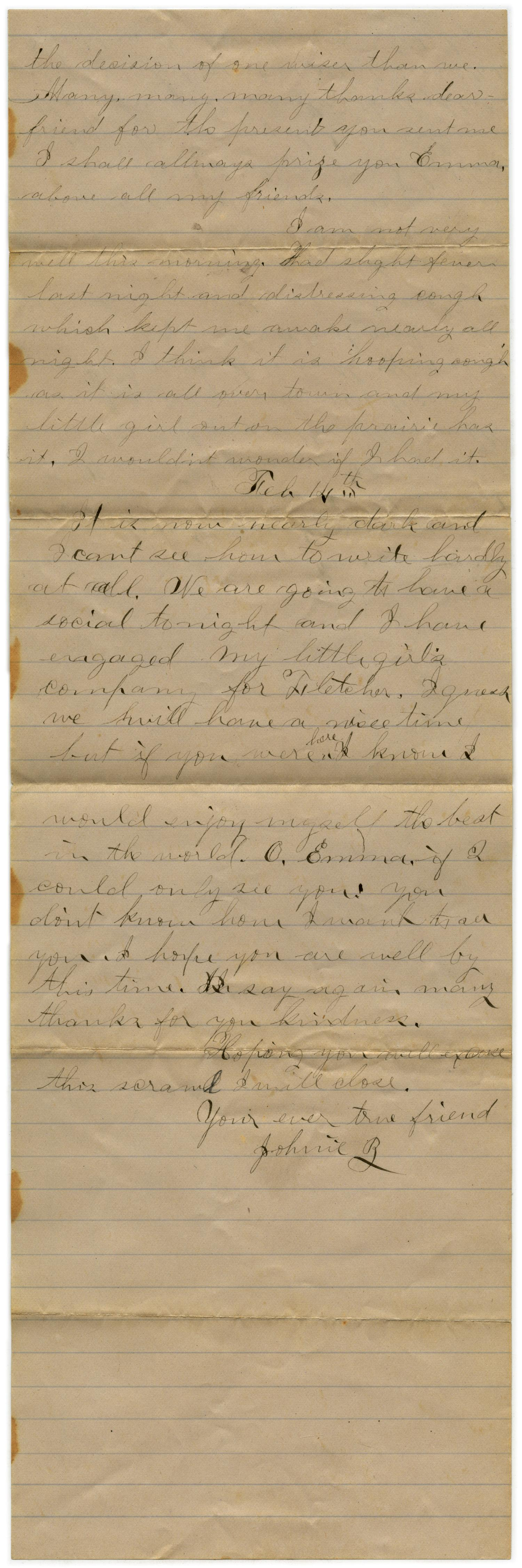[Letter from John C. Brewer to Emma Davis, February 12-14, 1879]                                                                                                      [Sequence #]: 2 of 3
