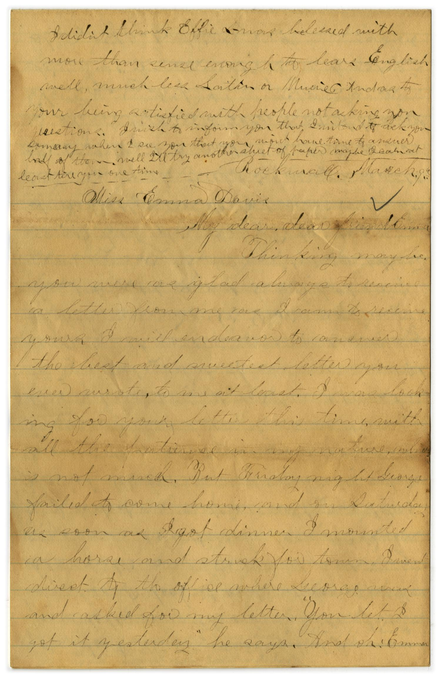 [Letter from John C. Brewer to Emma Davis, March 9, 1879]                                                                                                      [Sequence #]: 1 of 6