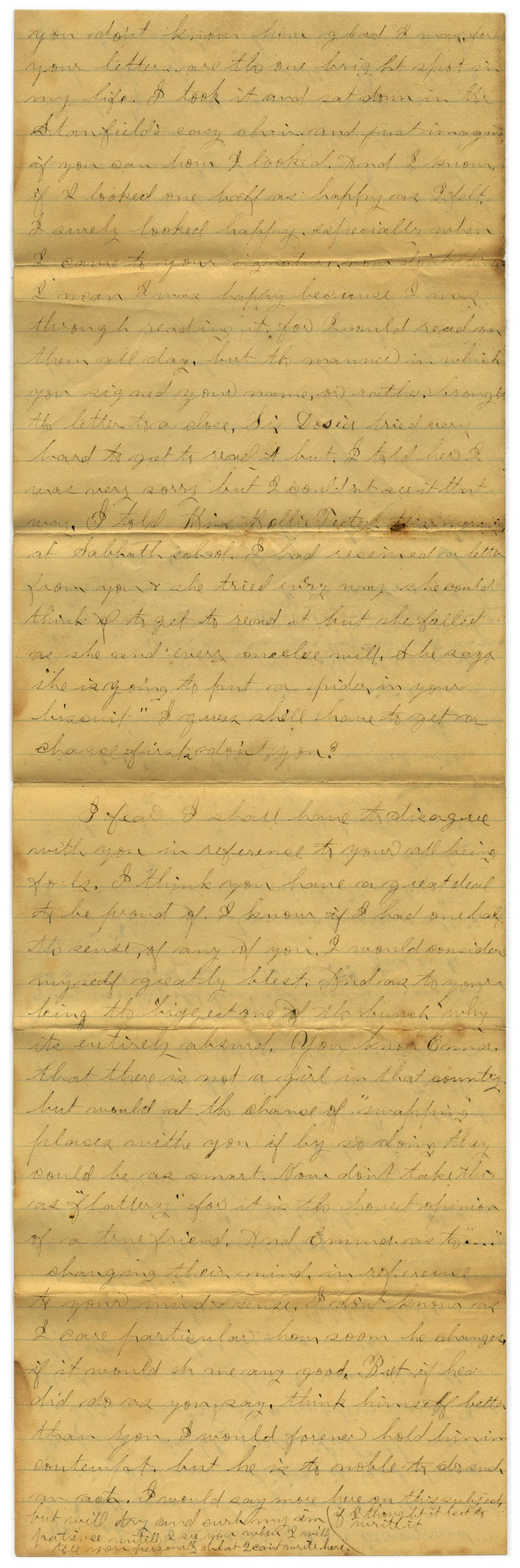 [Letter from John C. Brewer to Emma Davis, March 9, 1879]                                                                                                      [Sequence #]: 2 of 6