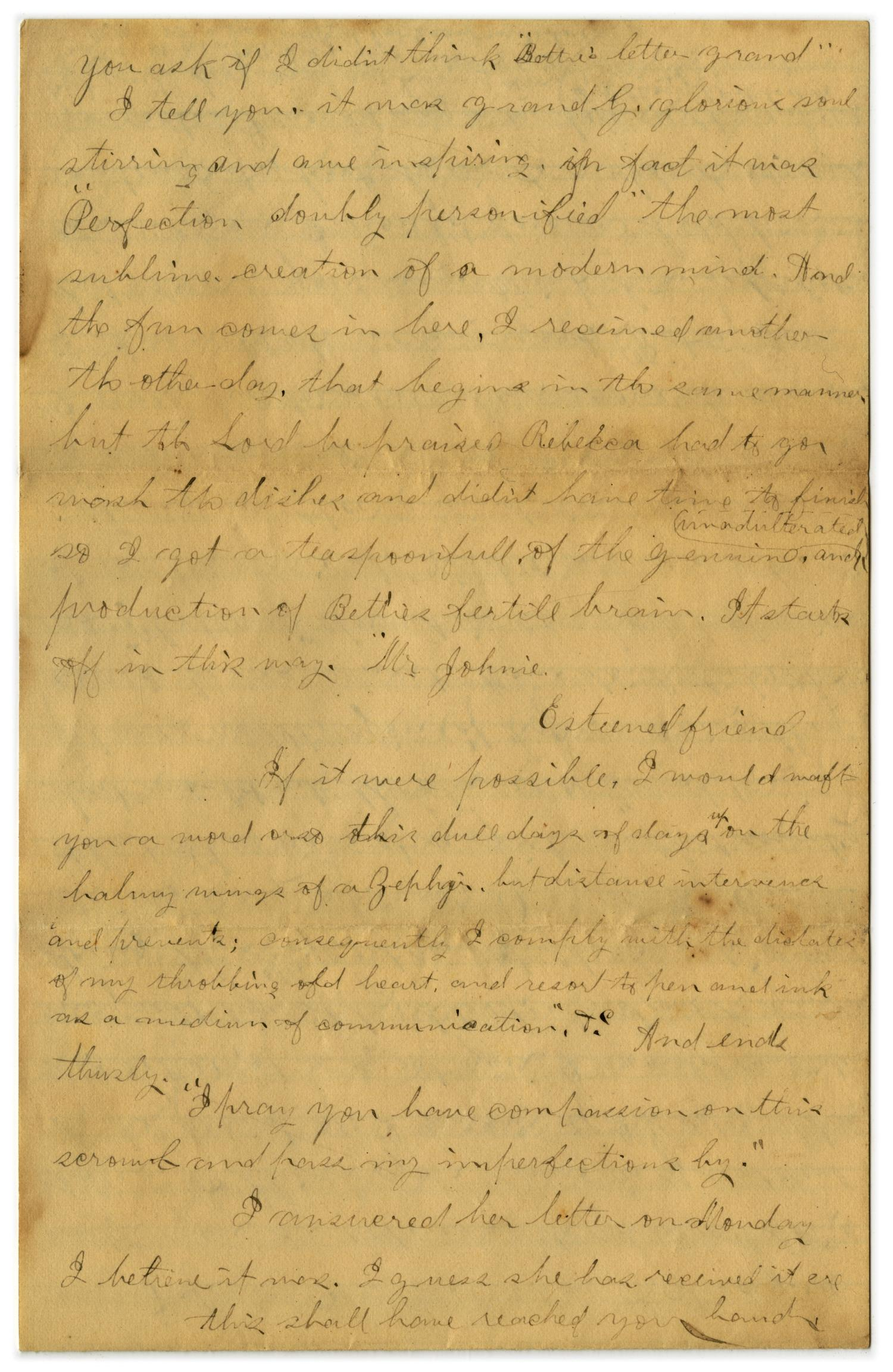 [Letter from John C. Brewer to Emma Davis, March 9, 1879]                                                                                                      [Sequence #]: 3 of 6