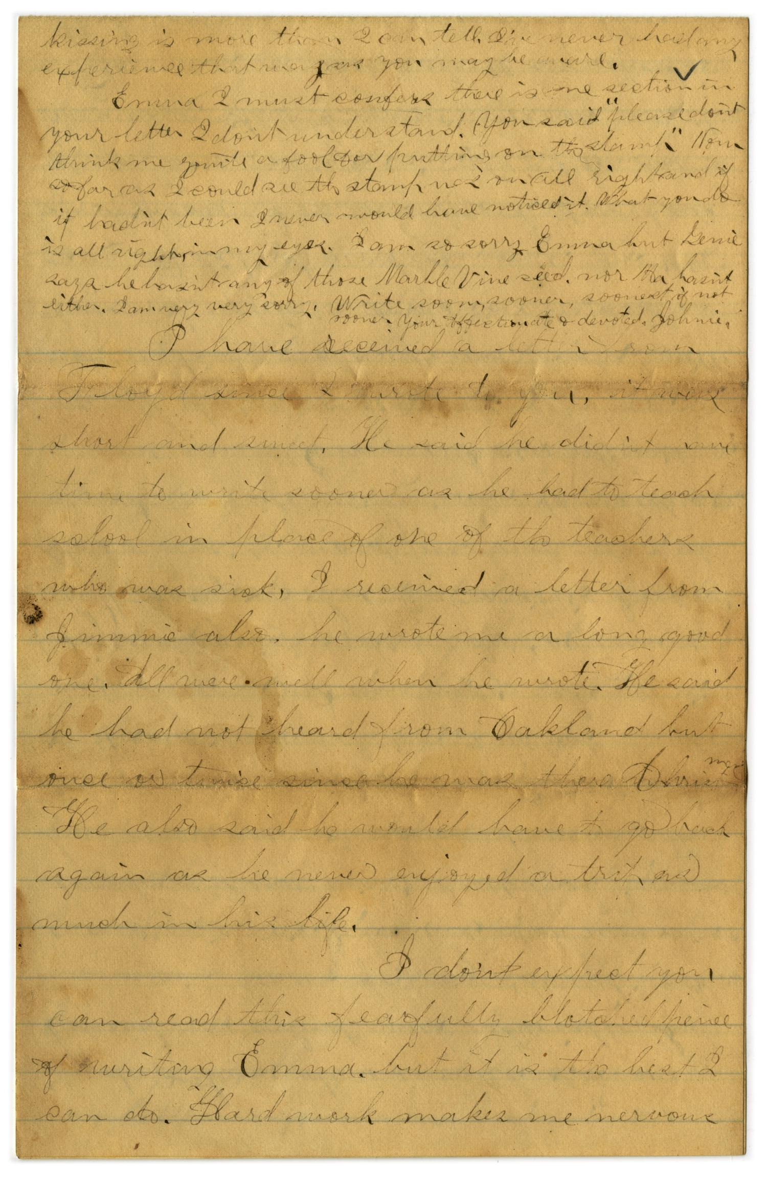 [Letter from John C. Brewer to Emma Davis, March 9, 1879]                                                                                                      [Sequence #]: 4 of 6