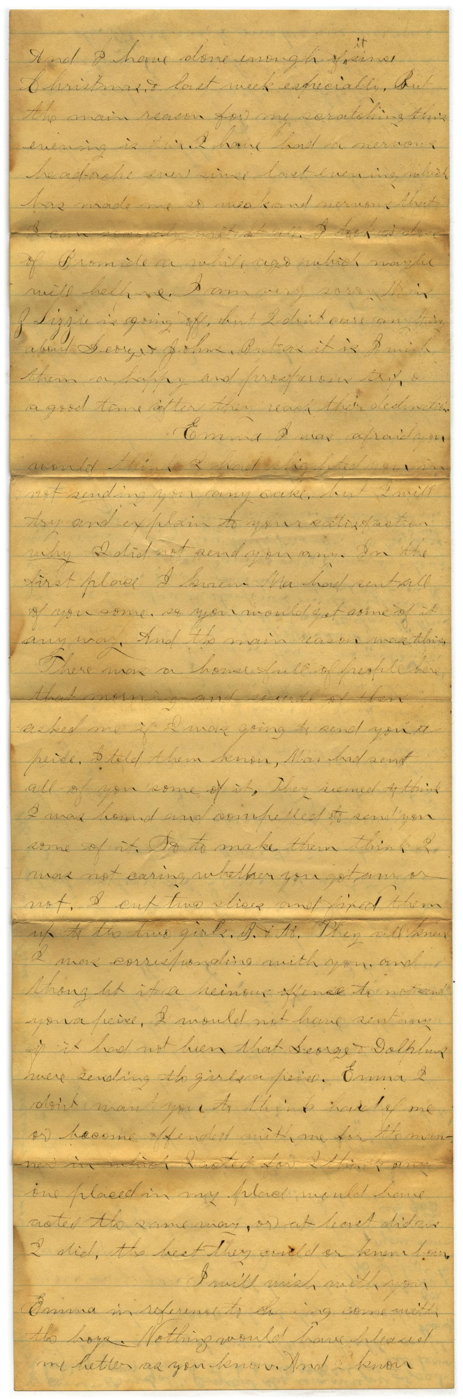 [Letter from John C. Brewer to Emma Davis, March 9, 1879]                                                                                                      [Sequence #]: 5 of 6