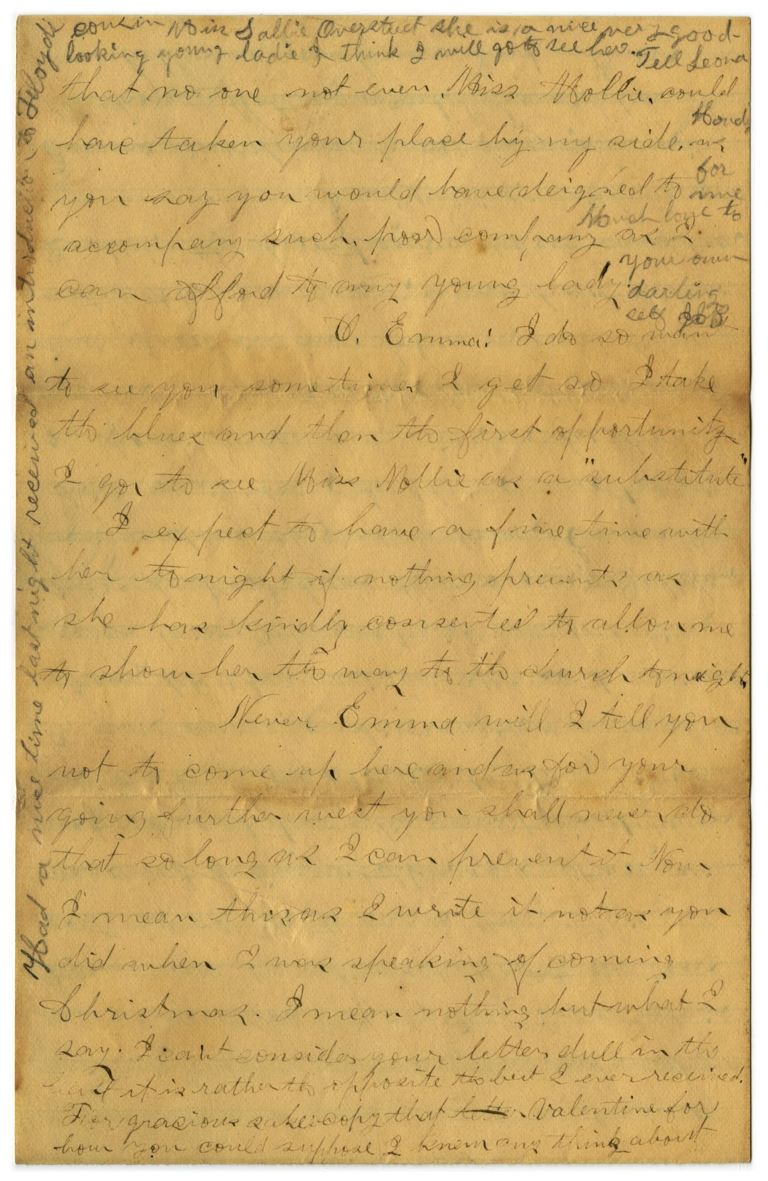 [Letter from John C. Brewer to Emma Davis, March 9, 1879]                                                                                                      [Sequence #]: 6 of 6