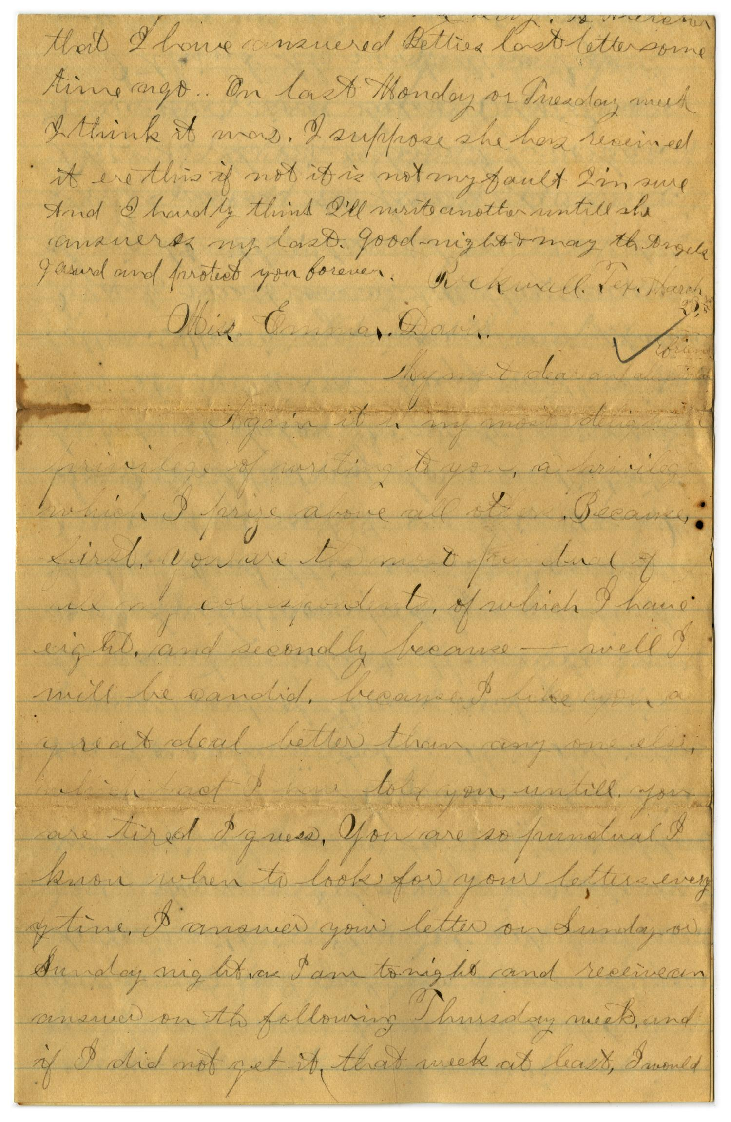 [Letter from John C. Brewer to Emma Davis, March 23 & 24, 1879]                                                                                                      [Sequence #]: 1 of 6