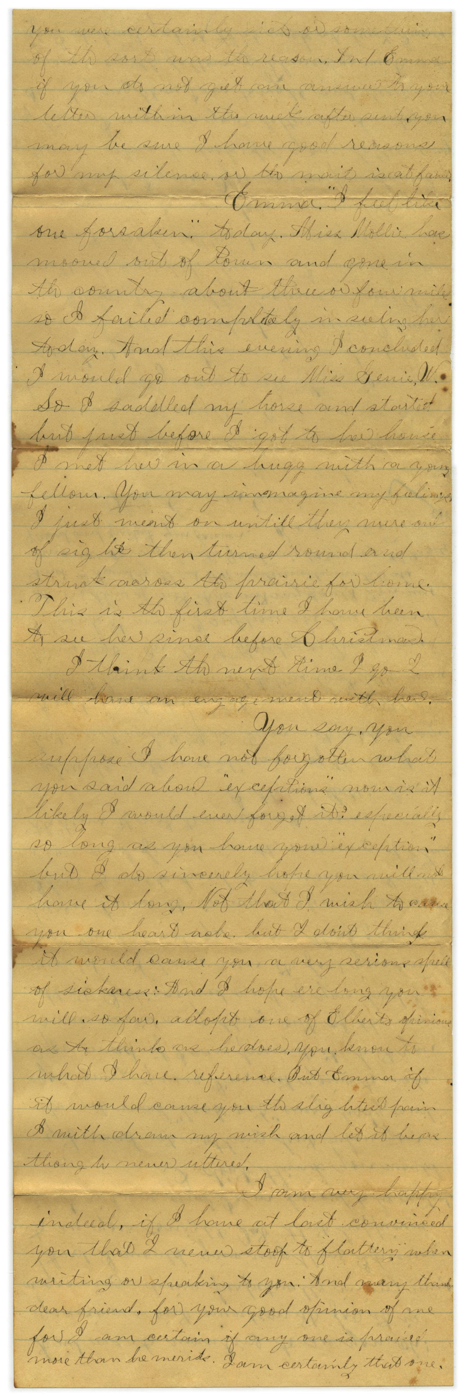 [Letter from John C. Brewer to Emma Davis, March 23 & 24, 1879]                                                                                                      [Sequence #]: 2 of 6