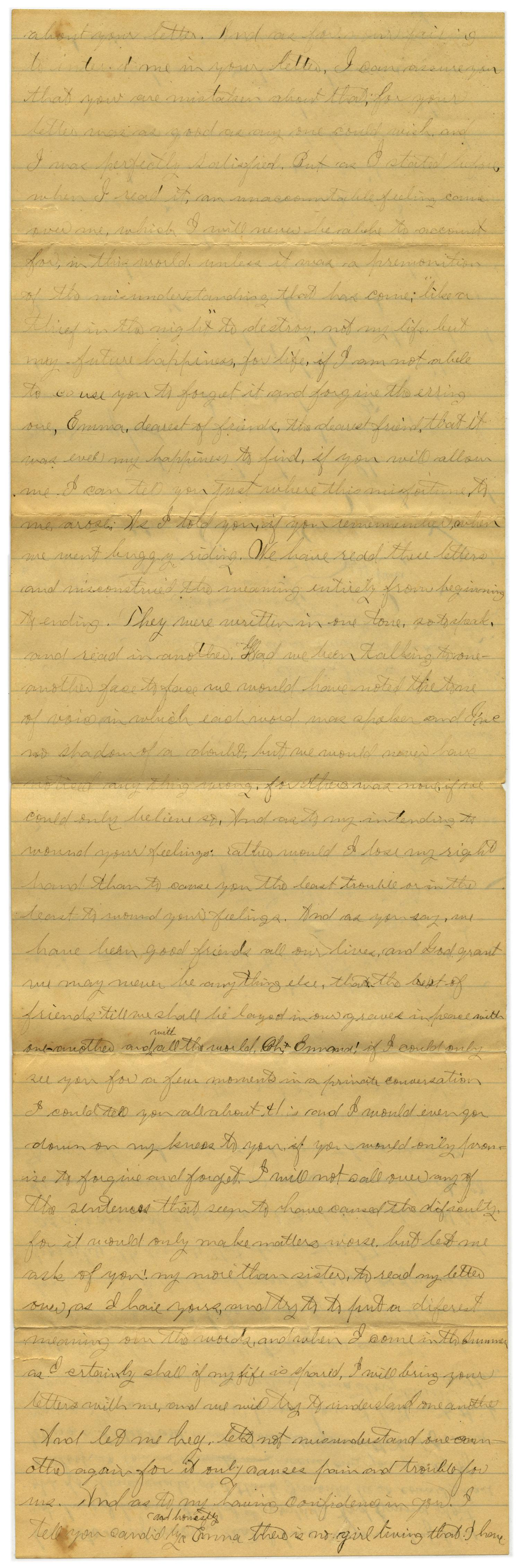 [Letter from John C. Brewer to Emma Davis, April 21, 1879]                                                                                                      [Sequence #]: 2 of 6